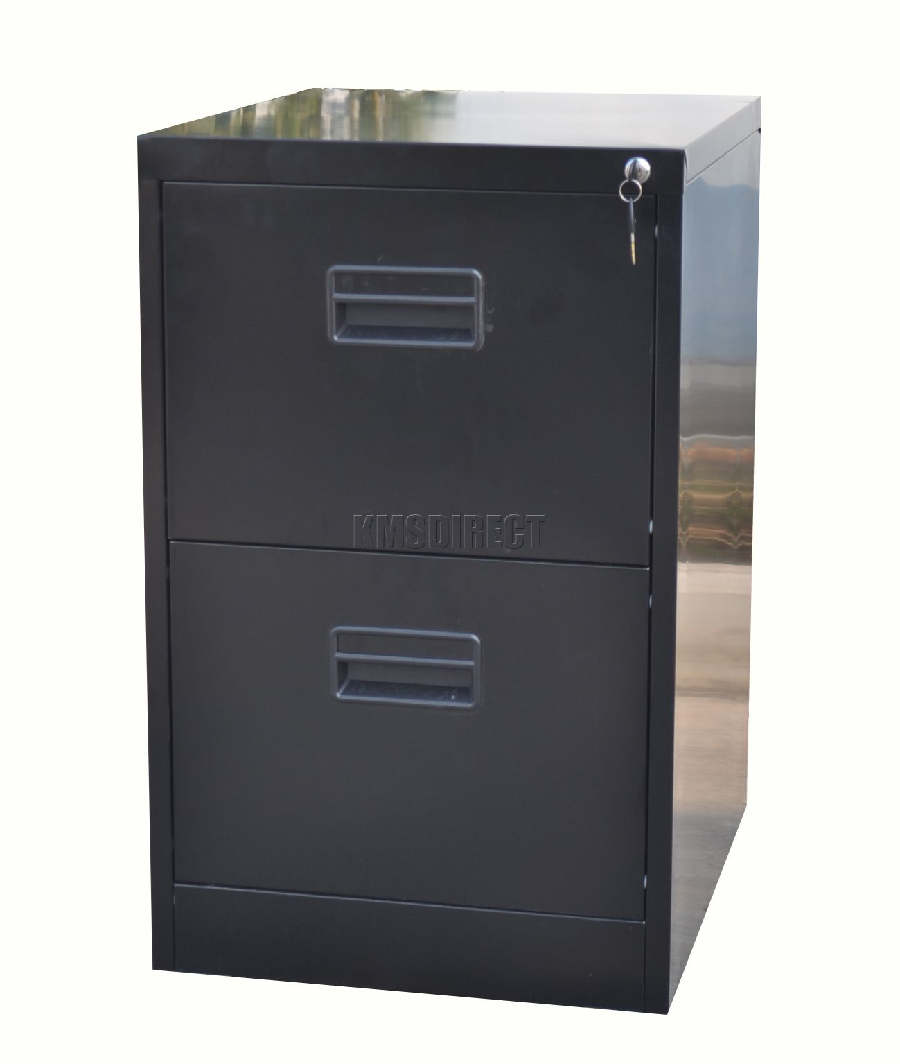 Home Office Filing Cabinet 2 Drawer A4 File Storage Metal Steel Lockable Black