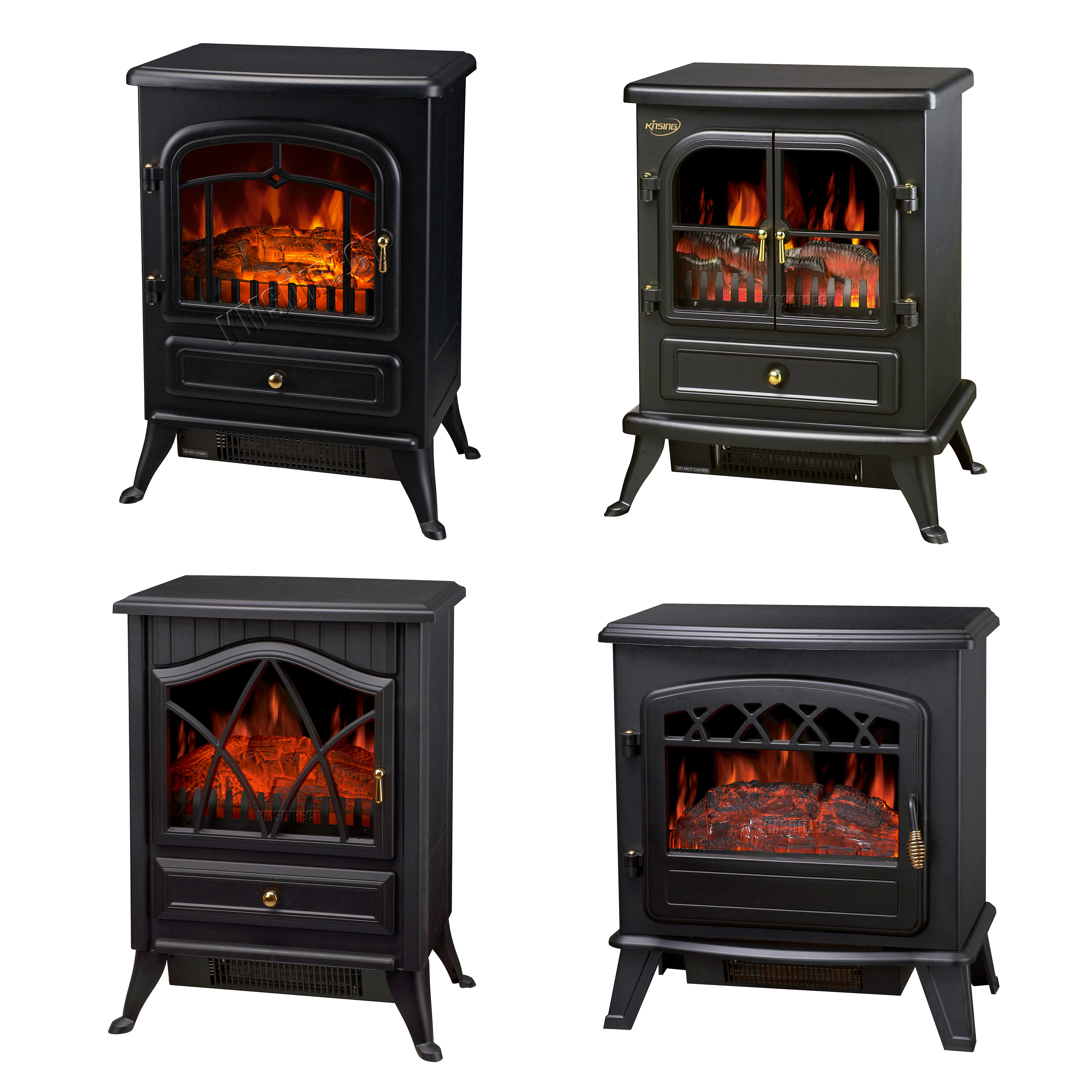 Log Burning Flame Effect 1850w Electric Fire Heater Standing Fireplace Stove Fan Ebay