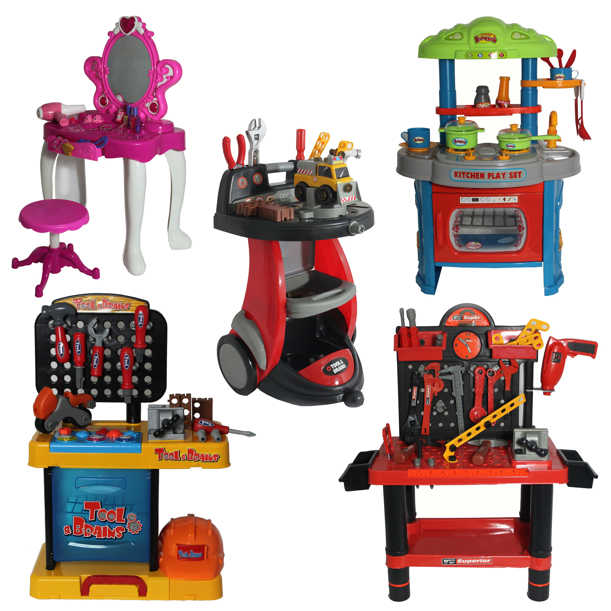 Kids toy dressing table mirror kitchen set tool bench role for Toy kitchen table