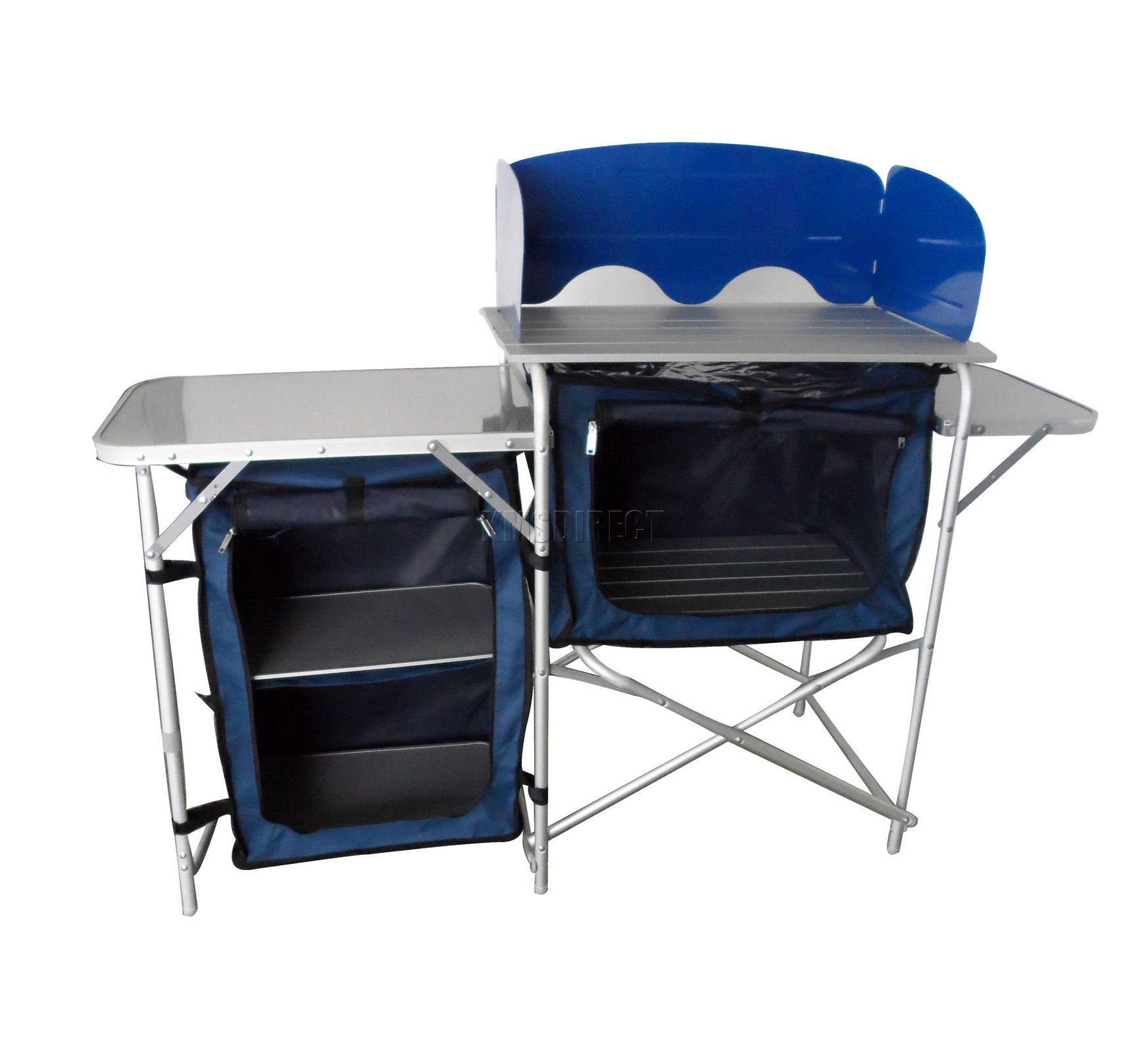 Folding camping kitchen table stand 3 rooms cupboard for Portable garden room