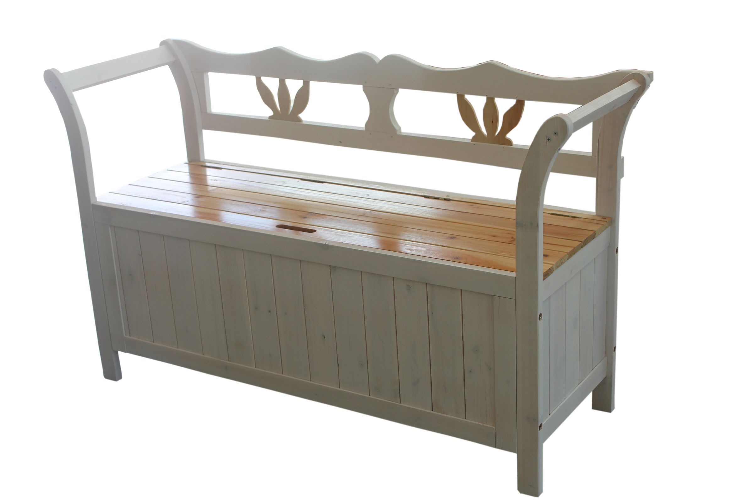 Foxhunter White Wooden Seat Bench Chair Cabinet Storage Garden Patio Furniture Ebay