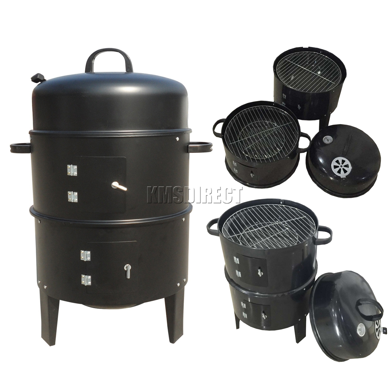 Low Gas Prices >> 3 Layer Steel BBQ Charcoal Grill Barbecue Smoker Garden Camping Cooking Black | eBay