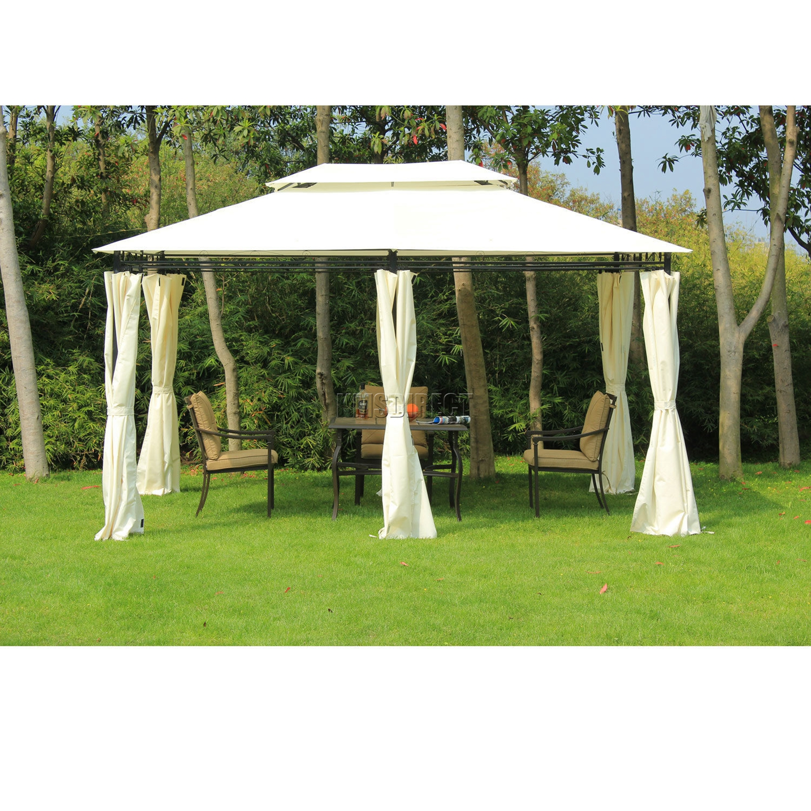 foxhunter garden pavilion gazebo shelter beige party tent marquee 3m x 4m x ebay. Black Bedroom Furniture Sets. Home Design Ideas