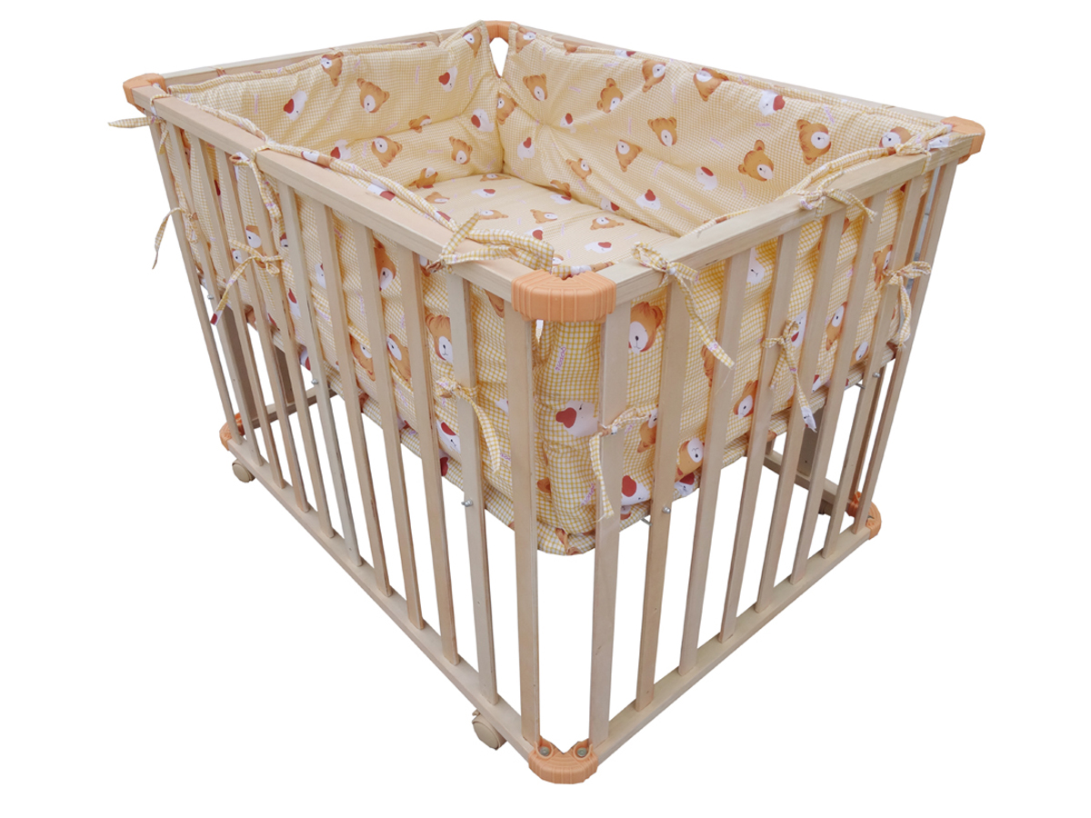 Amazing photo of  Height Adjustable Baby Playpen Play Pen Cot Bed Wooden 4 Side Yellow with #91633A color and 1200x900 pixels
