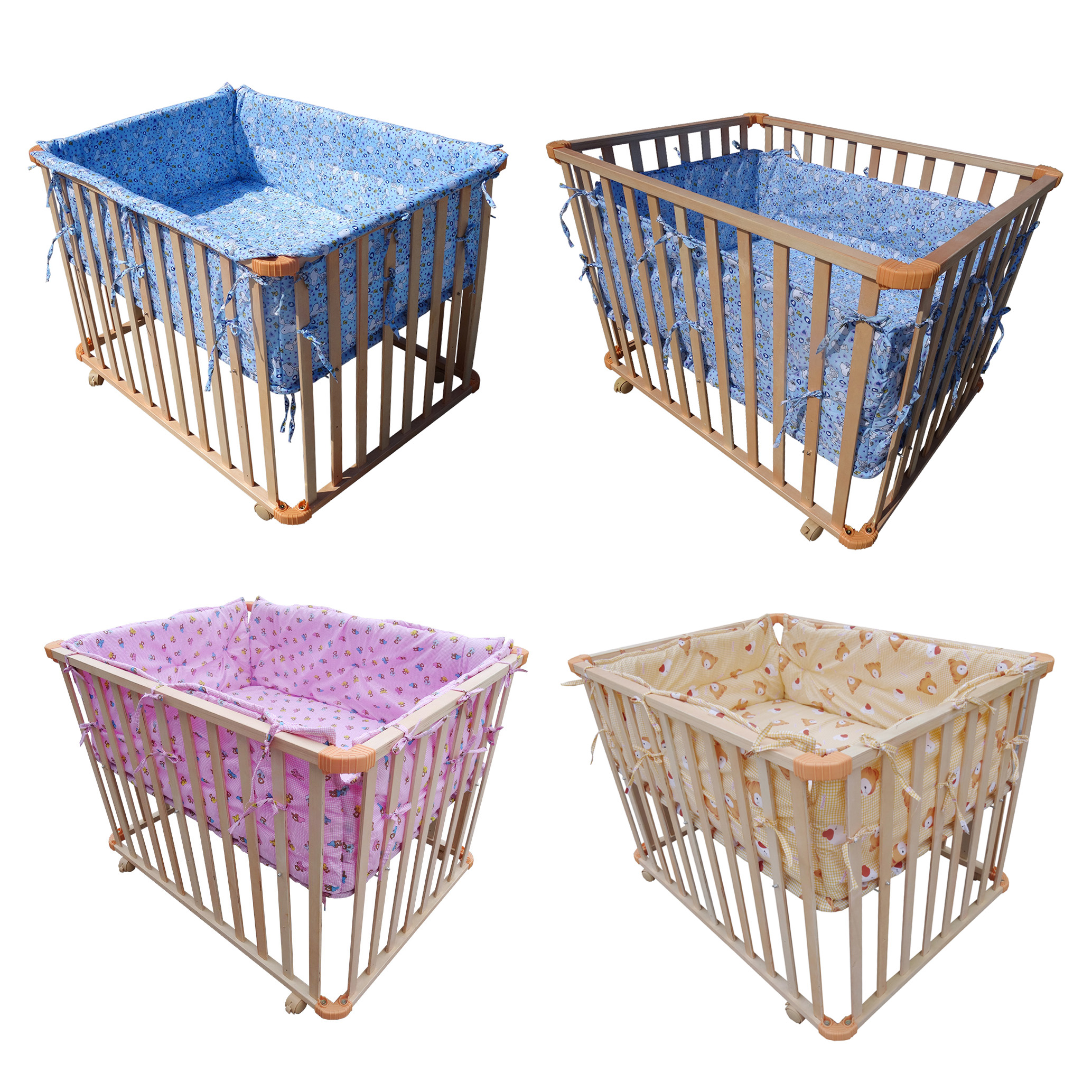 foxhunter height adjustable baby playpen play pen cot bed cushion  - foxhunter height adjustable baby playpen play pen cot bed cushion wooden side