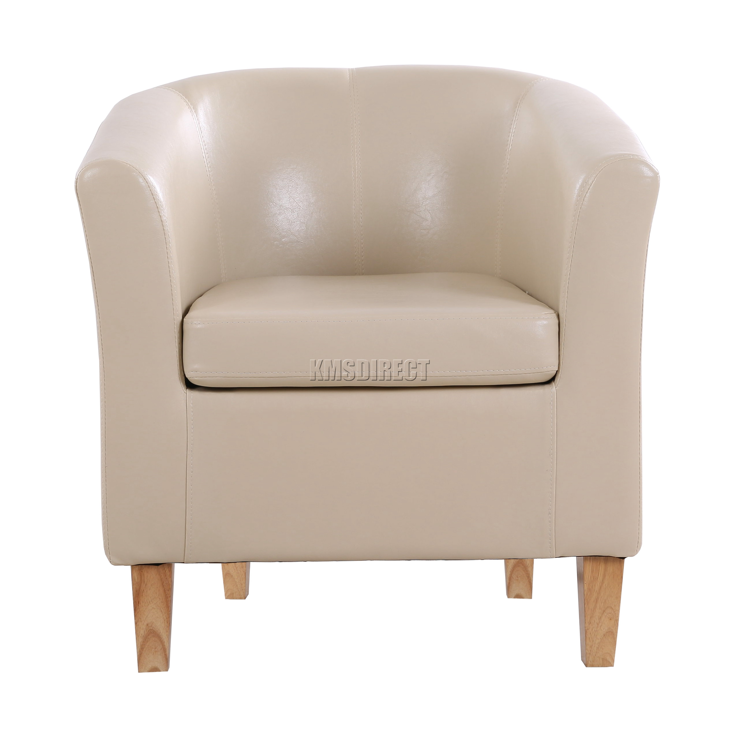 FoxHunter Ivory Faux Leather Tub Chair Armchair Dining