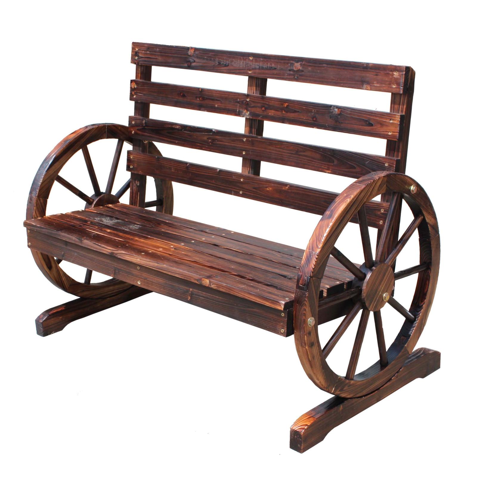 FoxHunter Wooden Garden Wheel Bench 2 Seat Seater Burnt Wood Outdoor Park WGB05