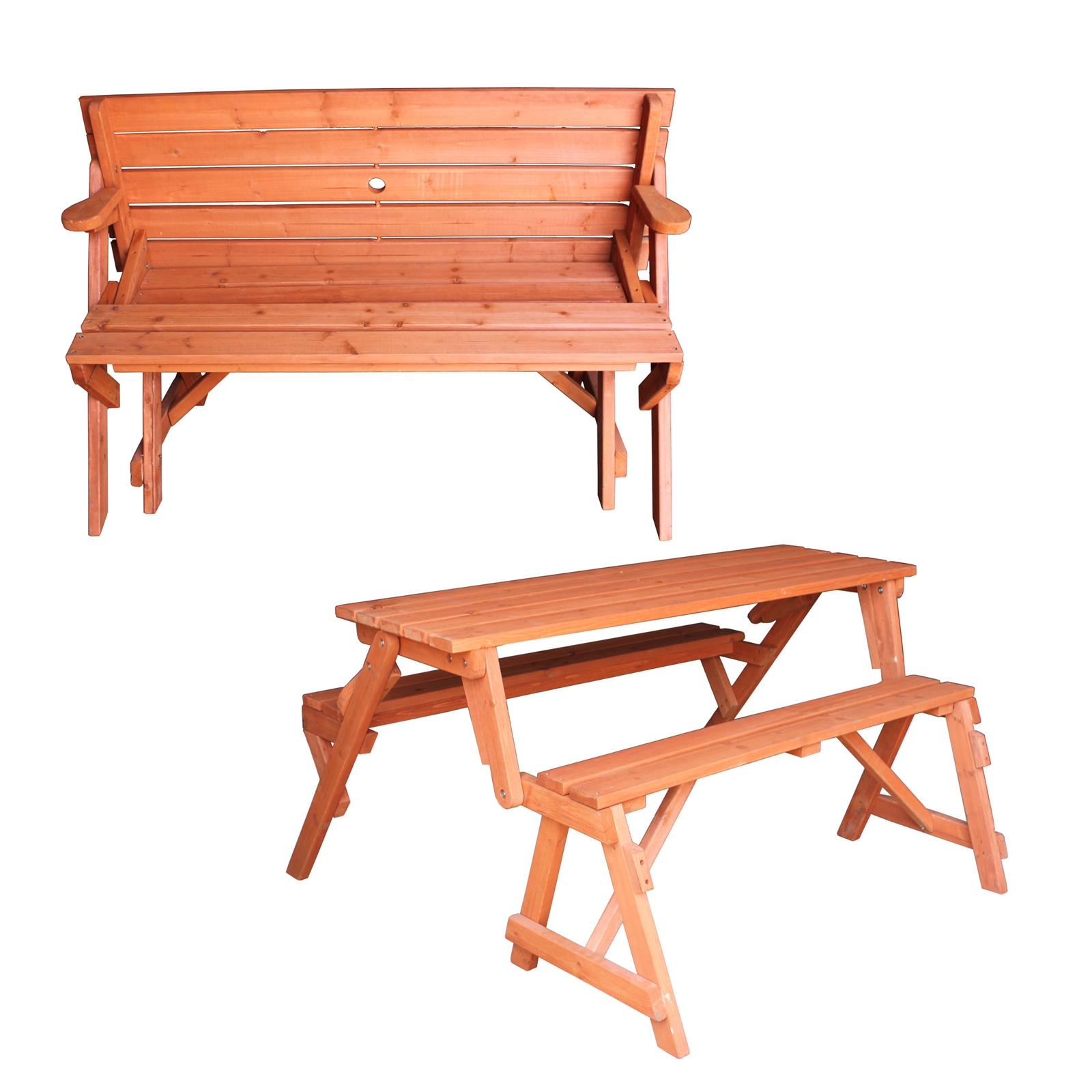 Wooden Folding Bench Picnic Garden Seat Table 2 In 1