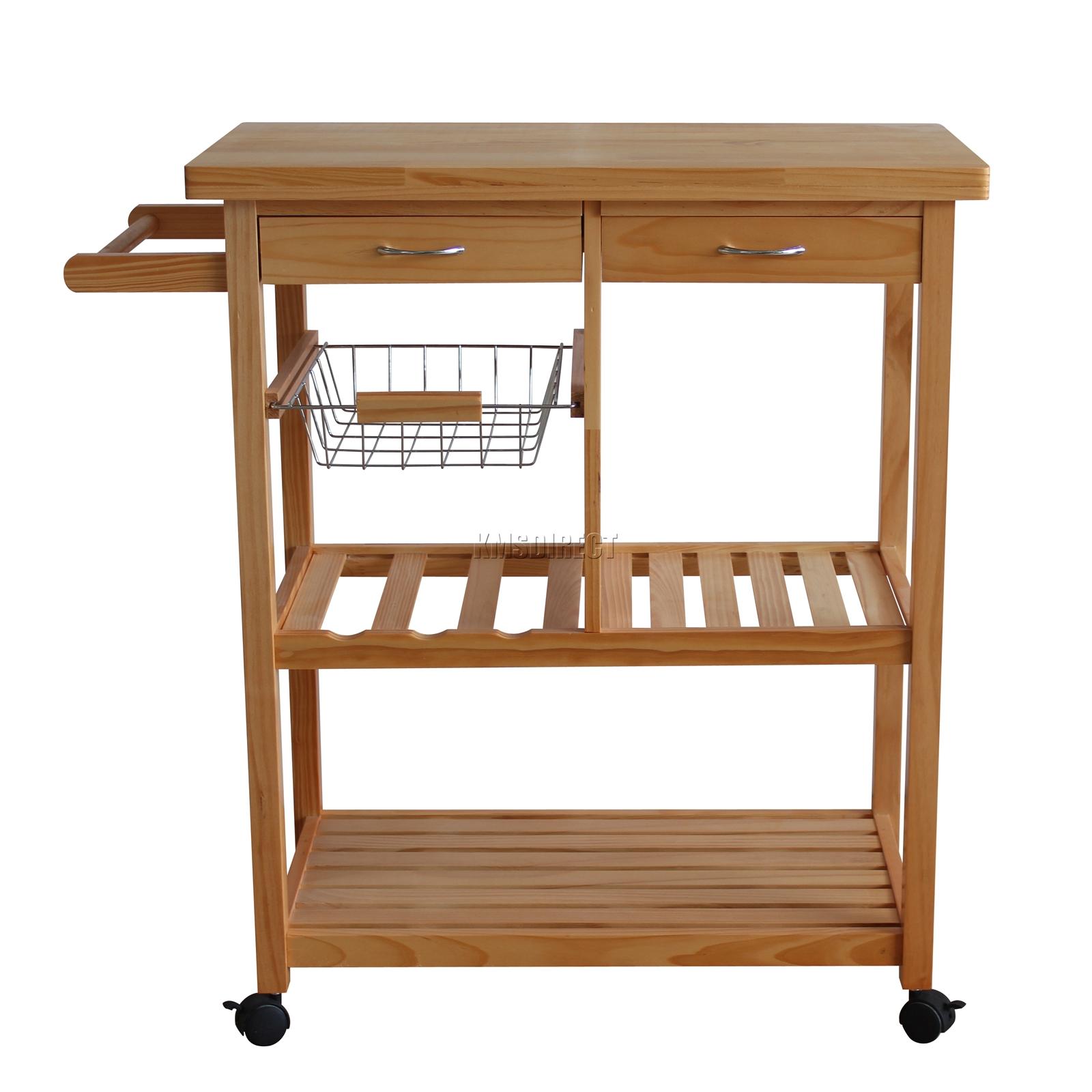 Kitchen Island On Wheels Uk: FoxHunter Kitchen Trolley Island Wooden Wine Storage Rack