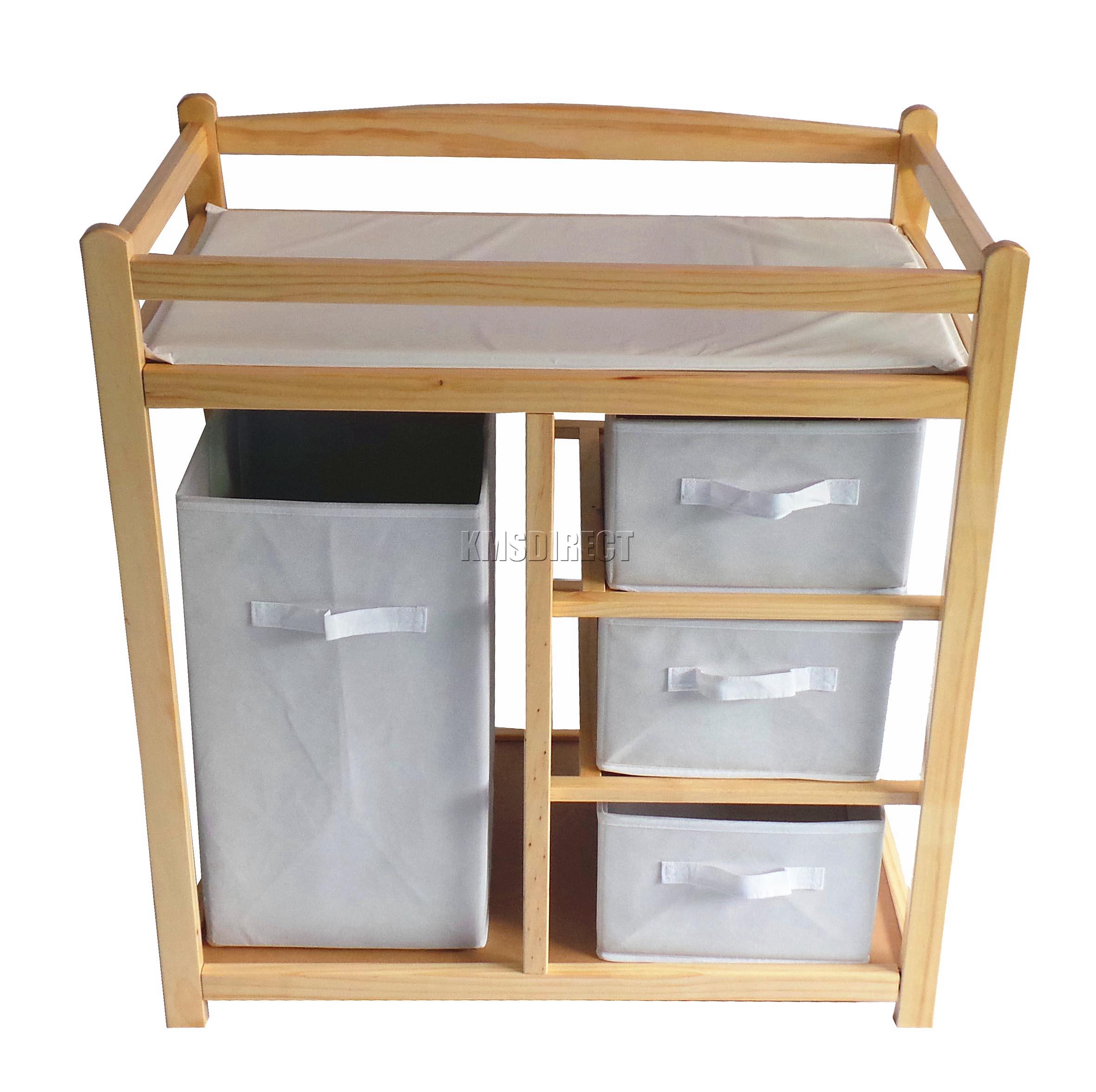 Foxhunter bois b b langer table unit station stockage tiroirs pad tapis ebay for Boite rangement table a langer