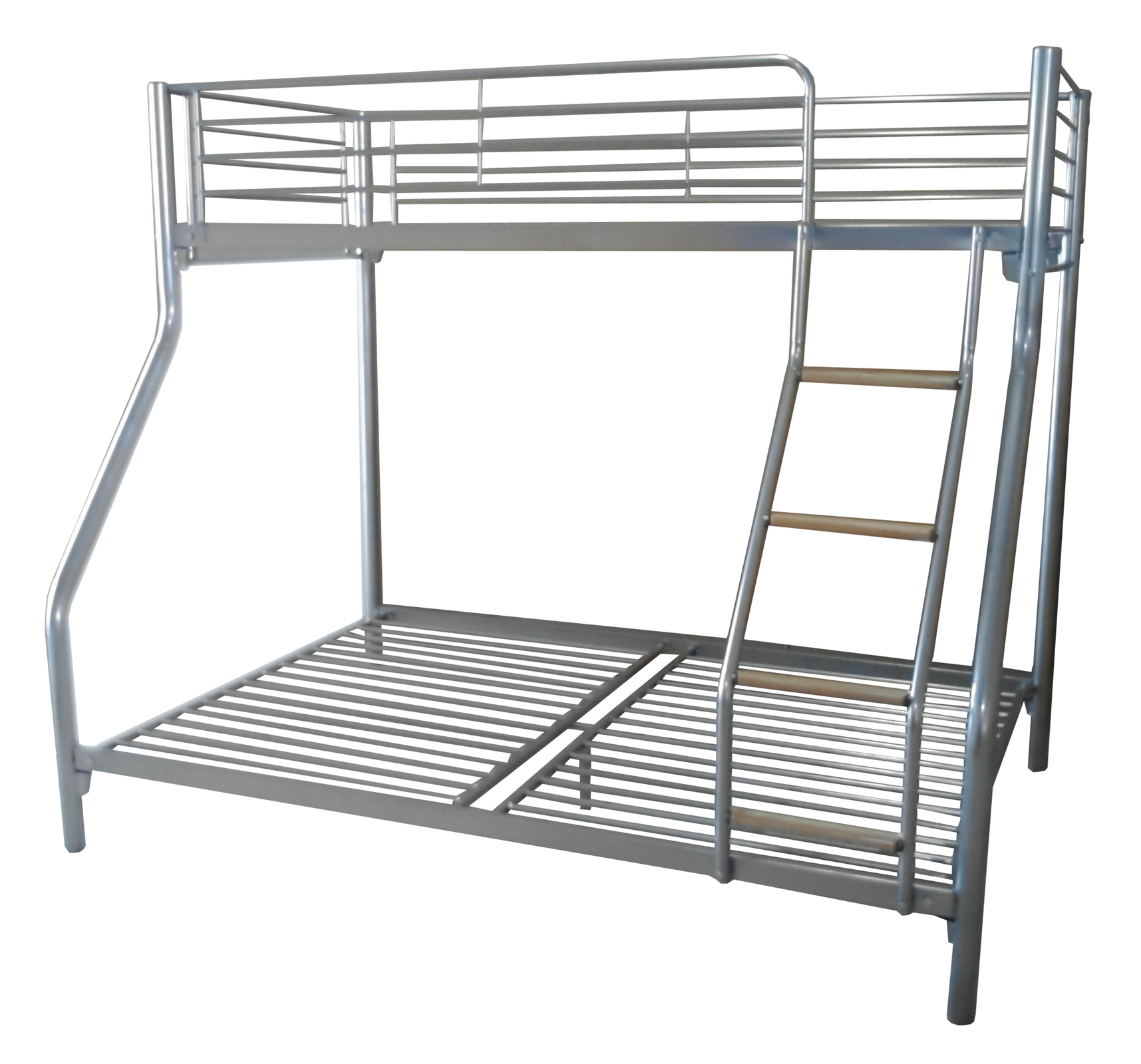 foxhunter silver kid triple sleeper bunk bed metal frame no mattress wood ladder ebay. Black Bedroom Furniture Sets. Home Design Ideas