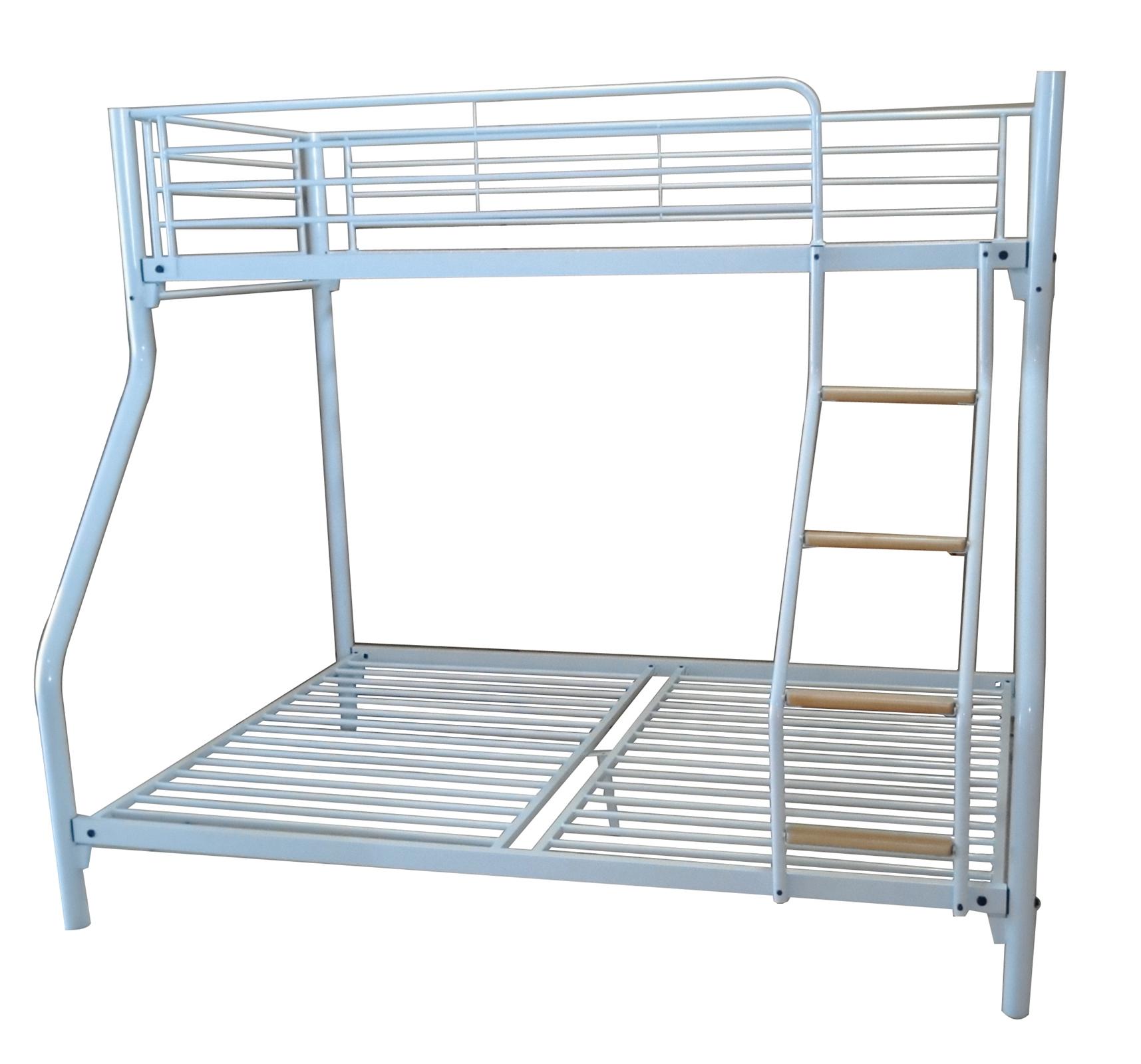 Foxhunter white kids triple sleeper bunk bed metal frame for White bunk bed frame