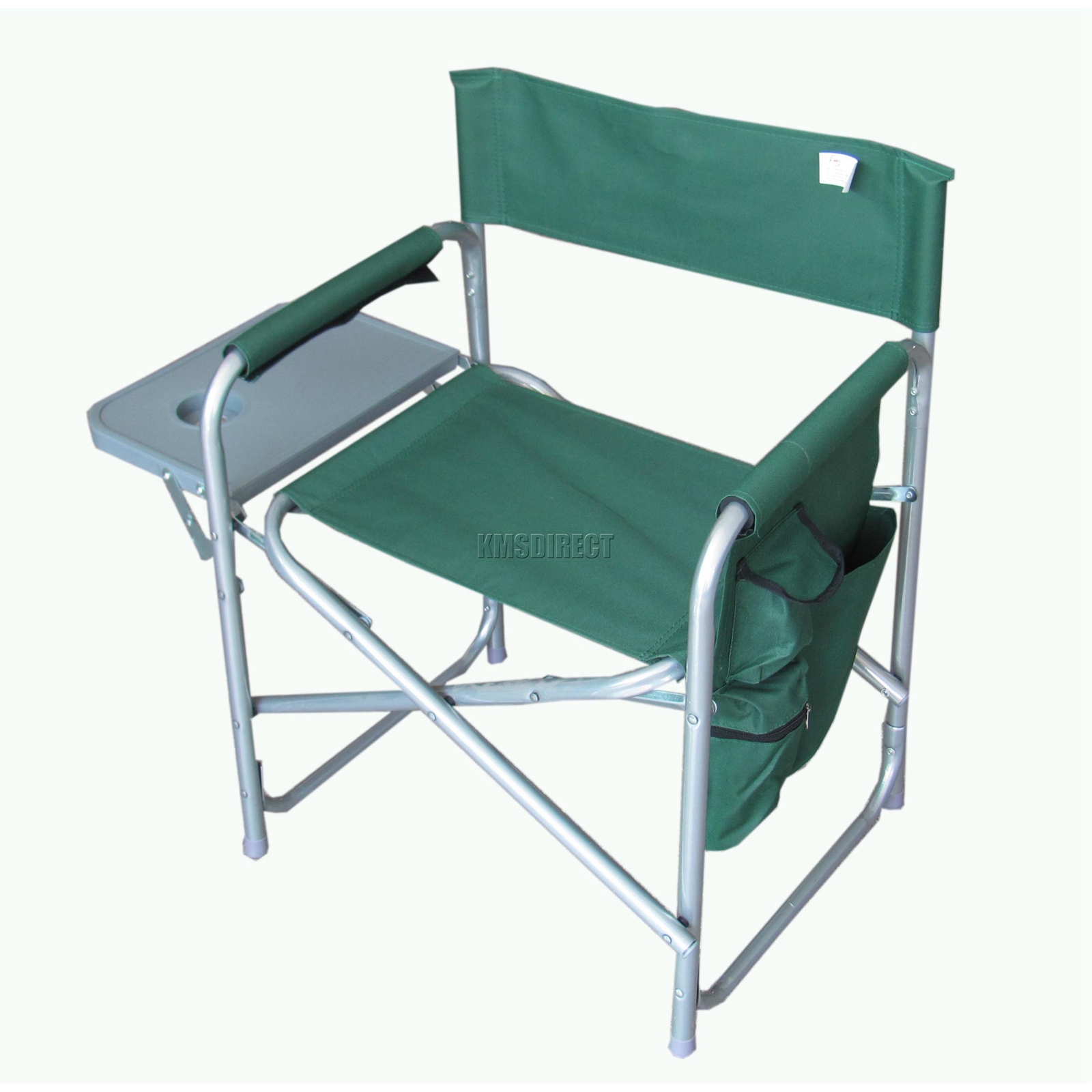 Folding Portable Fishing Chair Camping Outdoor Garden Seat Green With Side Ta