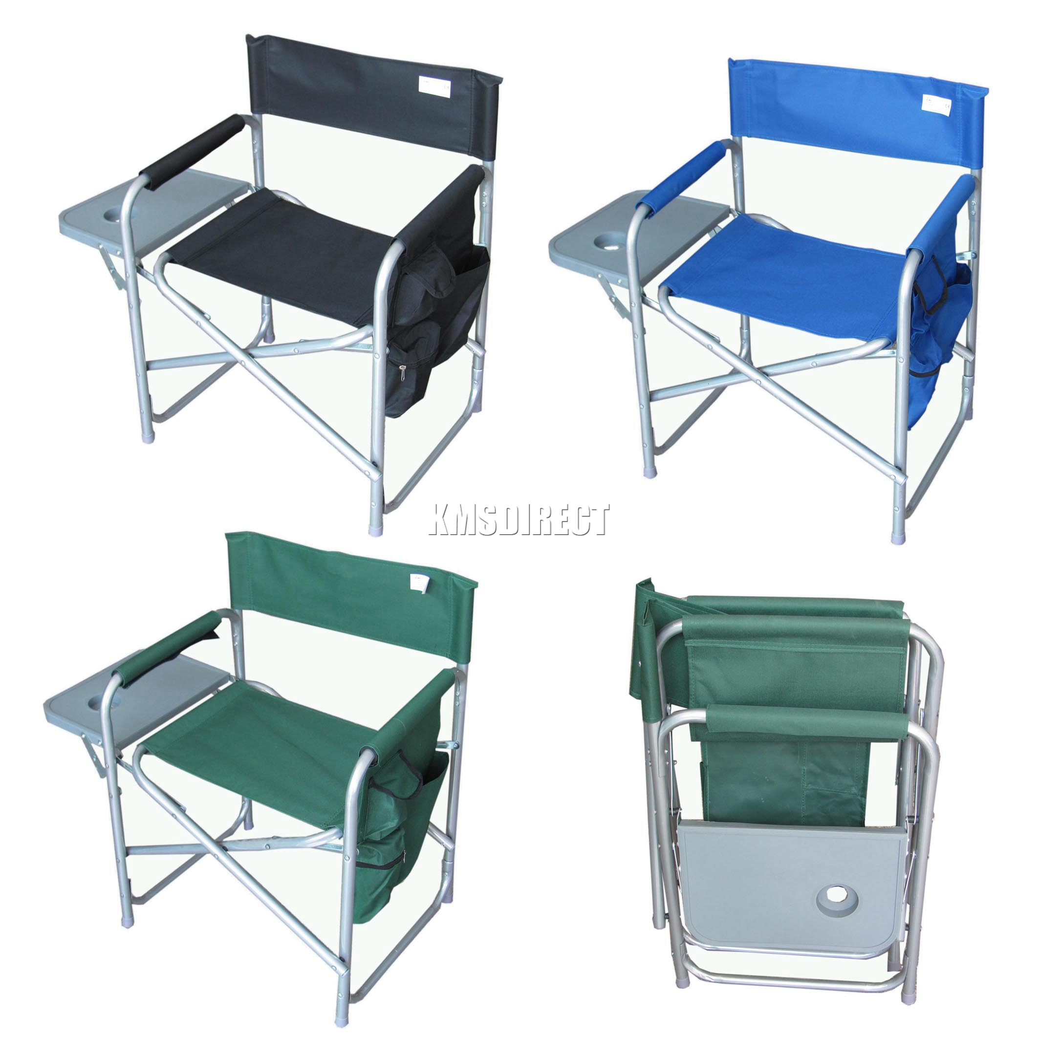 Folding Portable Fishing Chair Camping Outdoor Bench Garden Seat With Side Ta