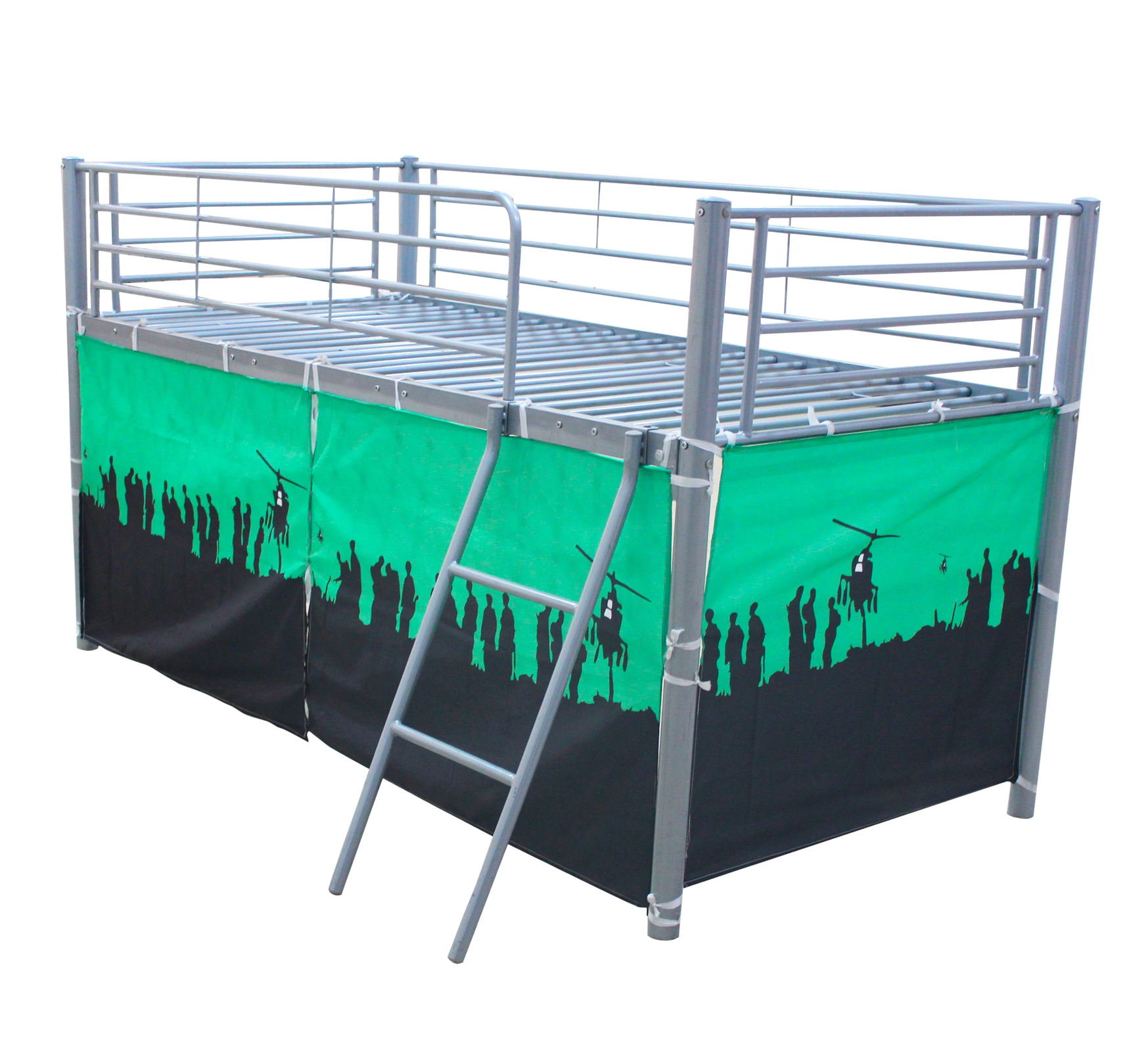 Foxhunter childrens metal mid sleeper cabin bunk bed kids for Childrens single beds