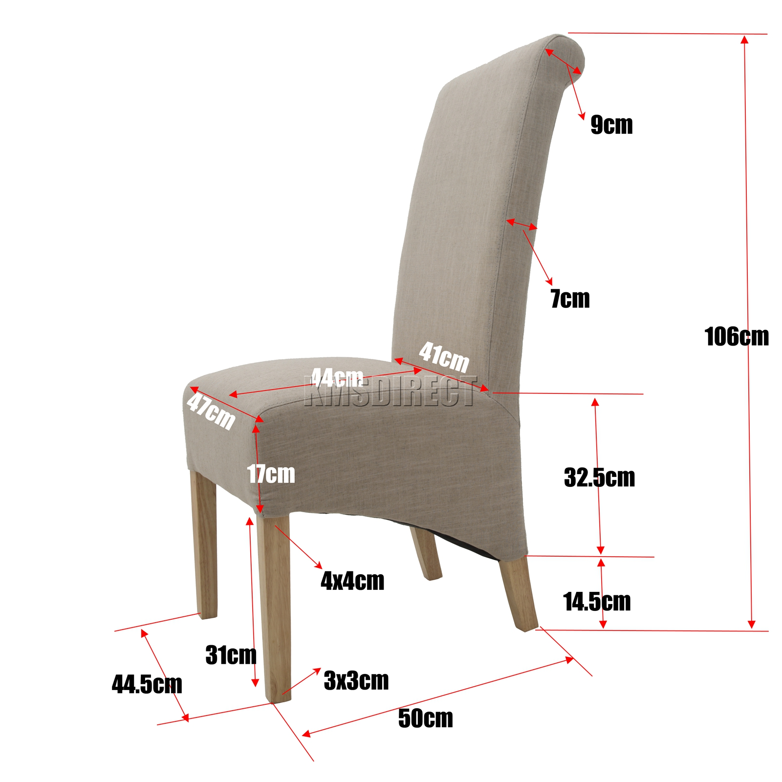Sentinel Foxhunter Cream Linen Fabric Dining Chairs Scroll High Back Springed Seat New X2