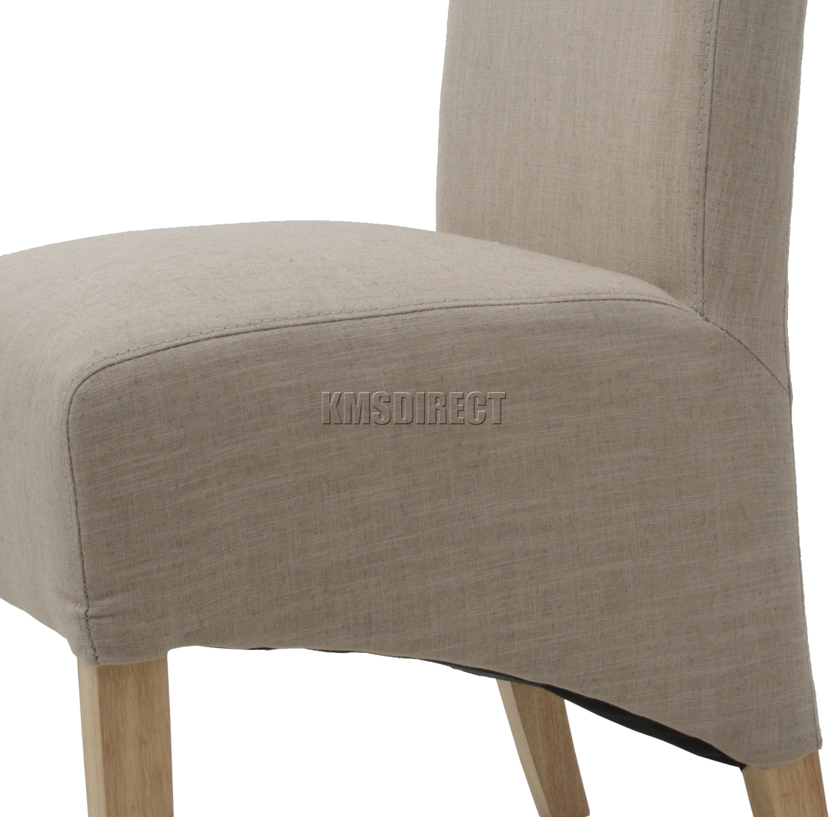 FoxHunter Cream Linen Fabric Dining Chairs Scroll High Back Springed Seat New X2