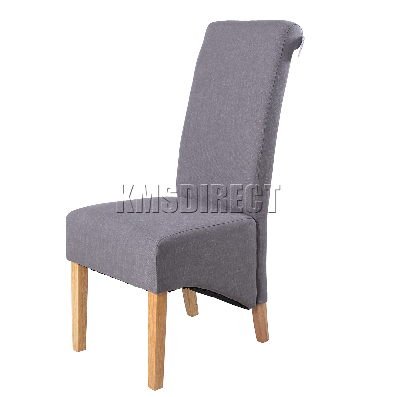 grey linen fabric dining chairs scroll high back springed seat new x2