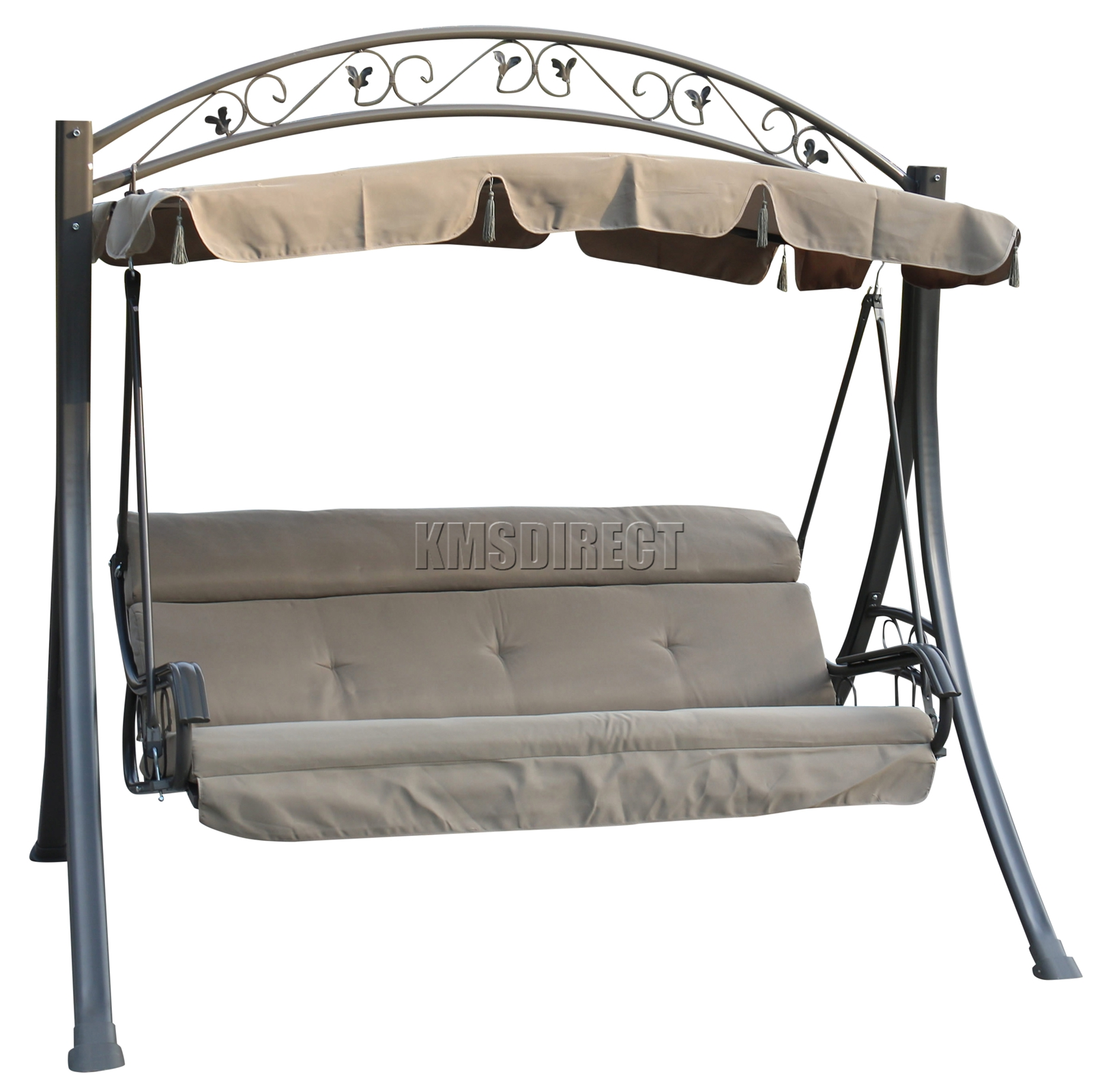 foxhunter garden outdoor metal swing hammock 3 seater