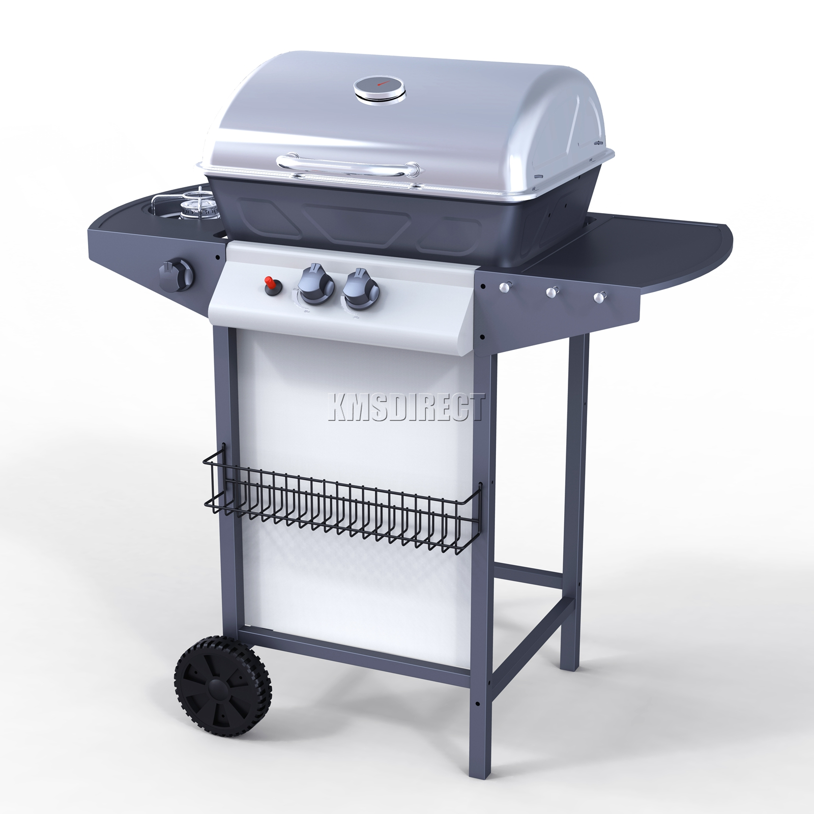 new 2 burner bbq gas grill stainless steel barbecue 1 side outdoor
