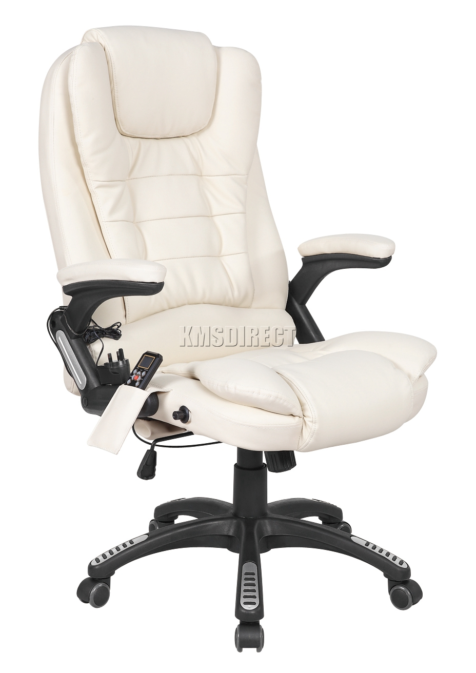 Foxhunter cream luxury leather 6 point massage office for Cream office chair