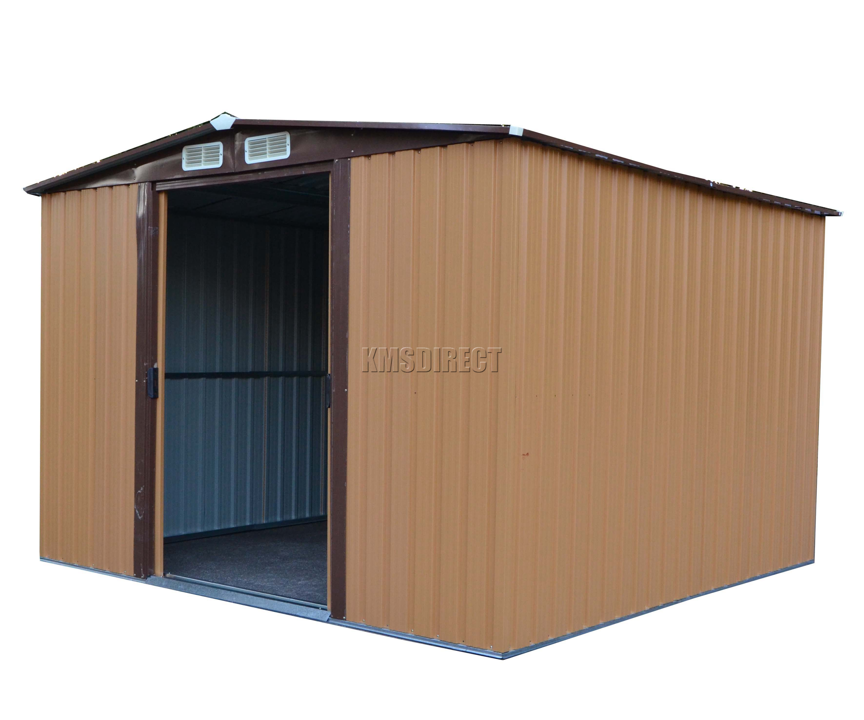 Foxhunter 6 x 8ft garden shed metal apex outdoor storage for Garden shed 8 x 6
