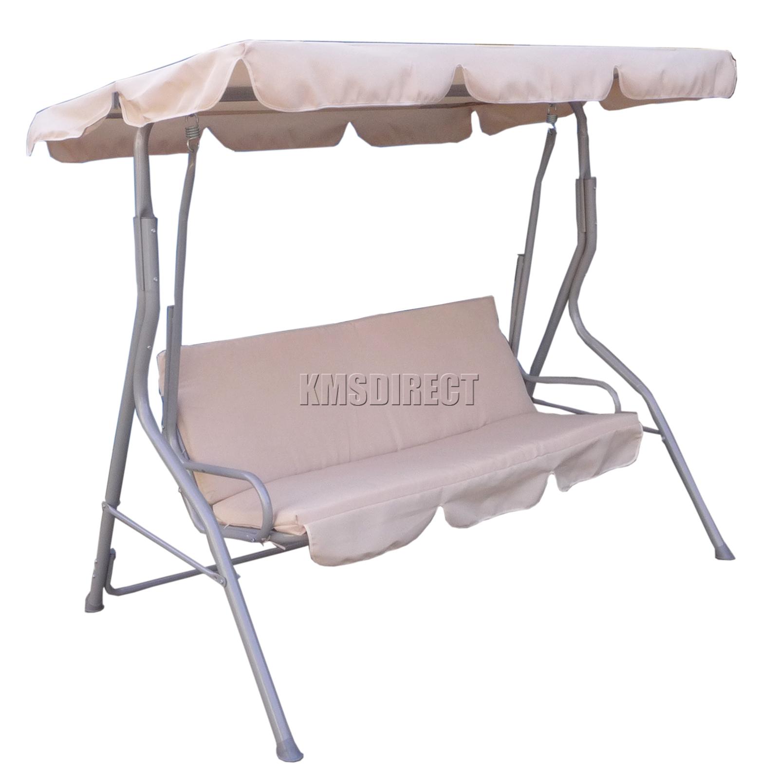 Foxhunter Fhsc01 Garden Metal Swing Hammock 3 Seater Chair Bench Patio Beige New Ebay