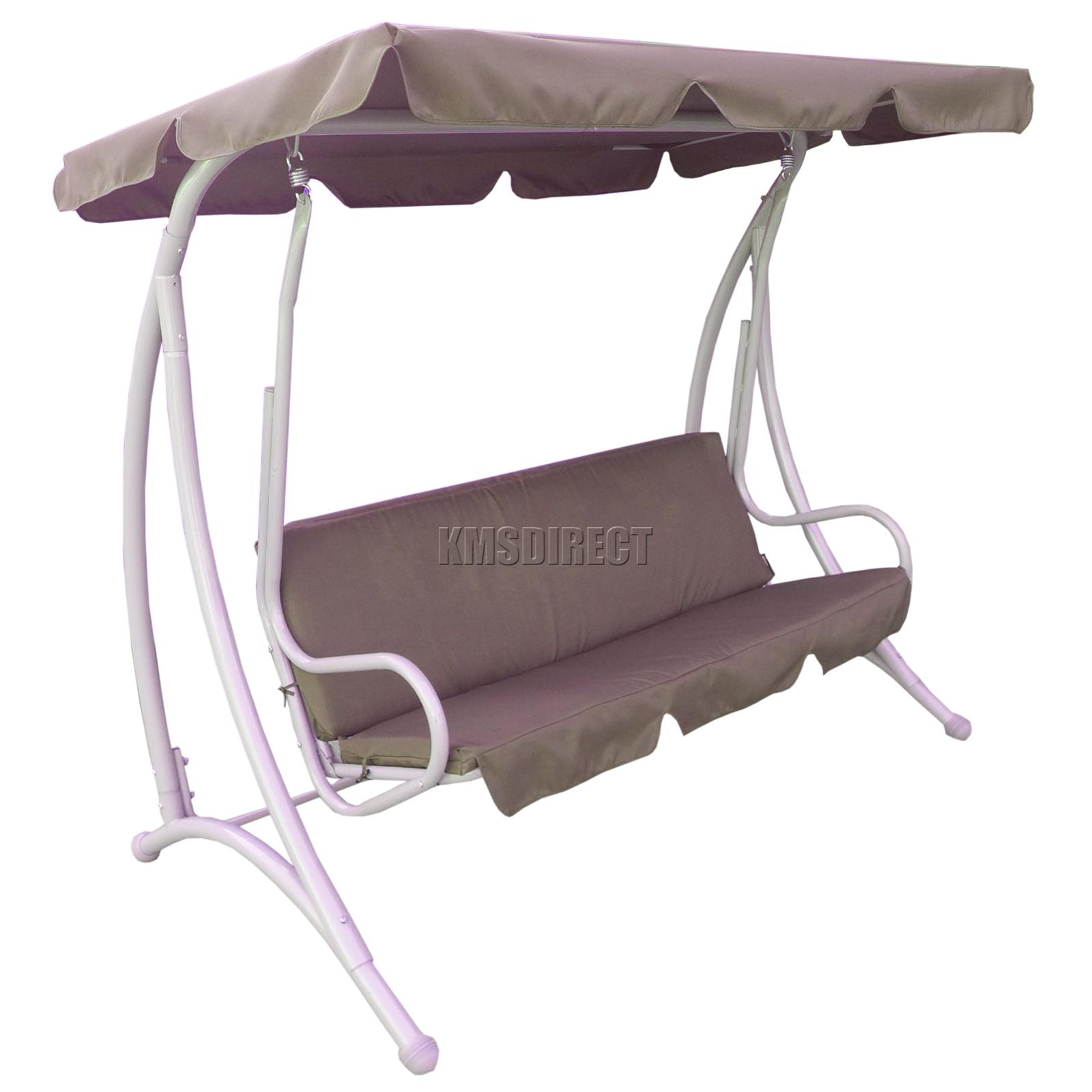 Foxhunter Fhsc02 Garden Swing Hammock 3 Seater Chair Bench Outdoor Canopy Brown Ebay