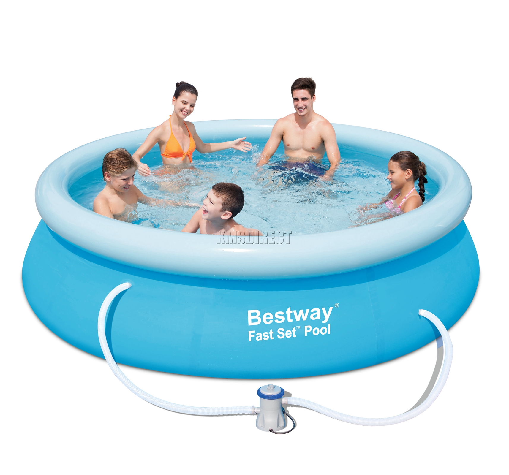 Bestway fast set swimming pool round inflatable 10ft x 30inch with filter pump ebay Inflatable quick set swimming pool