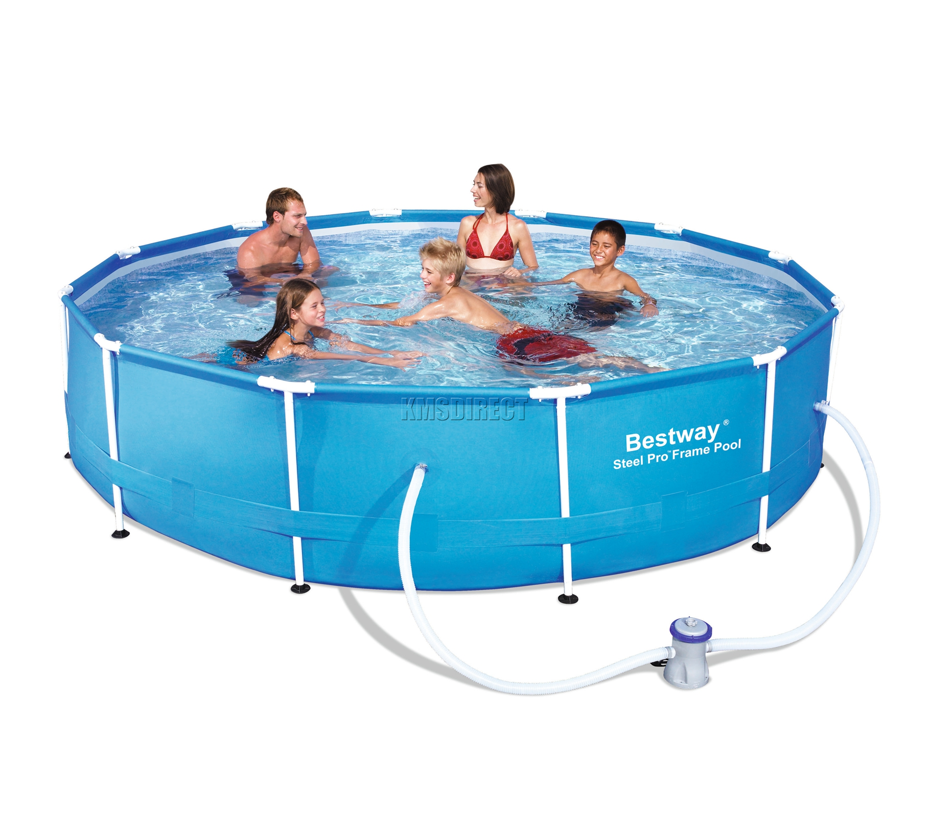 Bestway steel pro frame swimming pool set round above for Above ground swimming pools uk