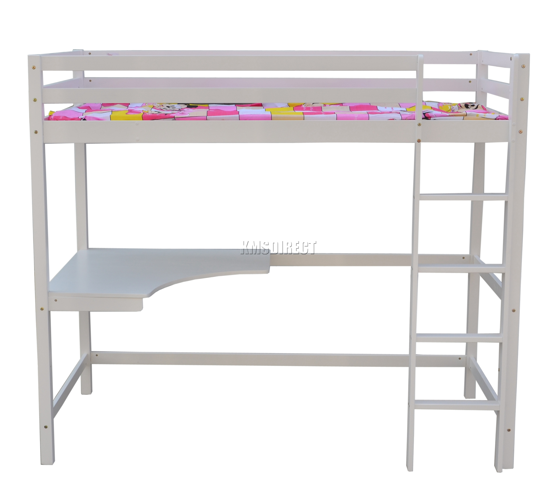 Foxhunter high sleeper cabin wood frame bunk bed with desk for Bunk bed frame with mattress