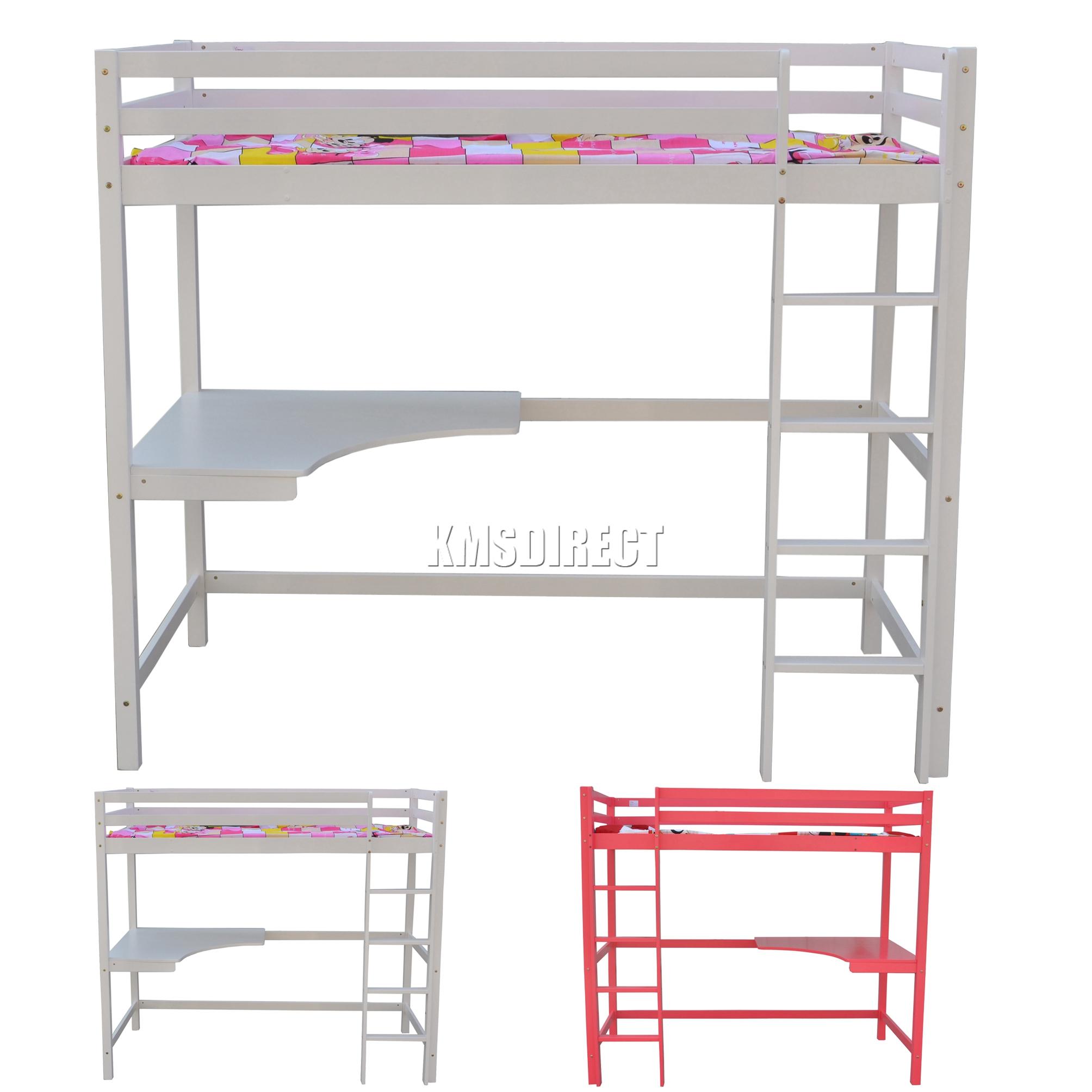 Foxhunter haut lit cabine cadre en bois lit superpos mezzanine avec bureau - Lit mezzanine pas trop haut ...