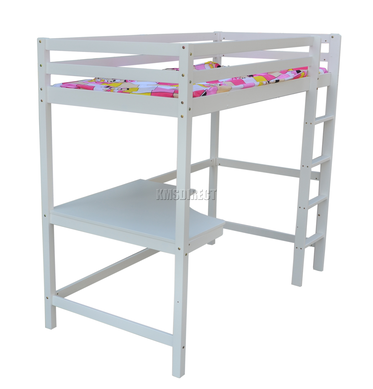 FoxHunter High Sleeper Cabin Wooden Frame Bunk Bed With Desk Kids Single 3FT New EBay