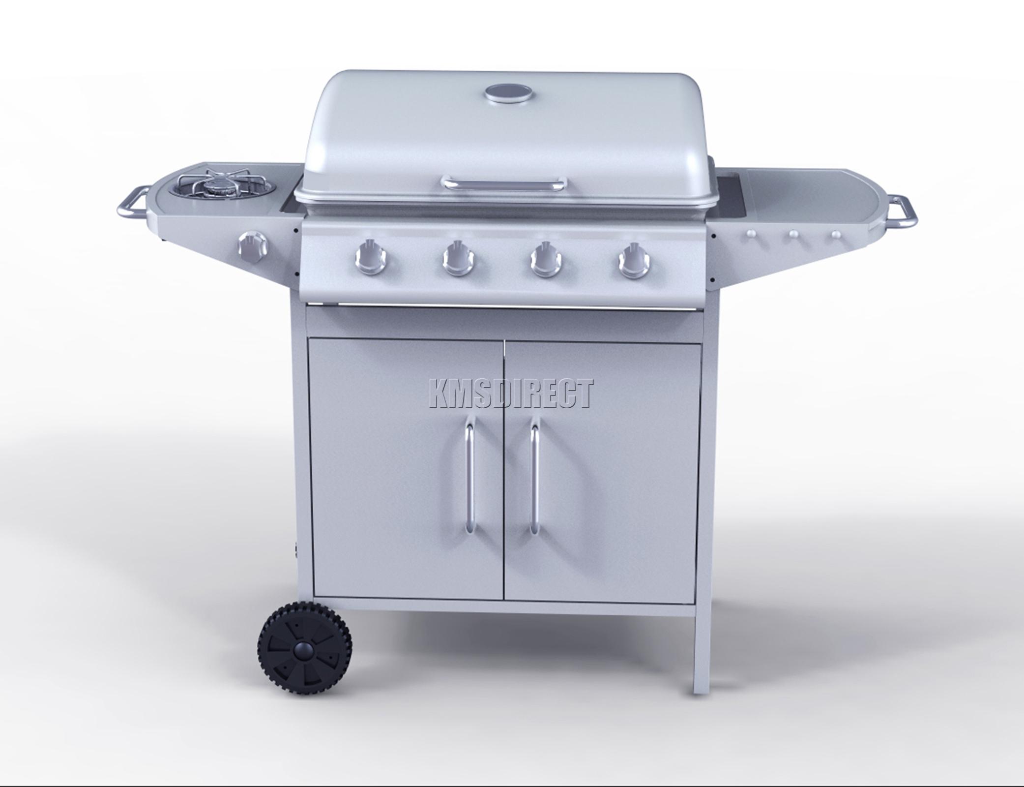 foxhunter g2087d 4 burner bbq gas grill silver steel. Black Bedroom Furniture Sets. Home Design Ideas