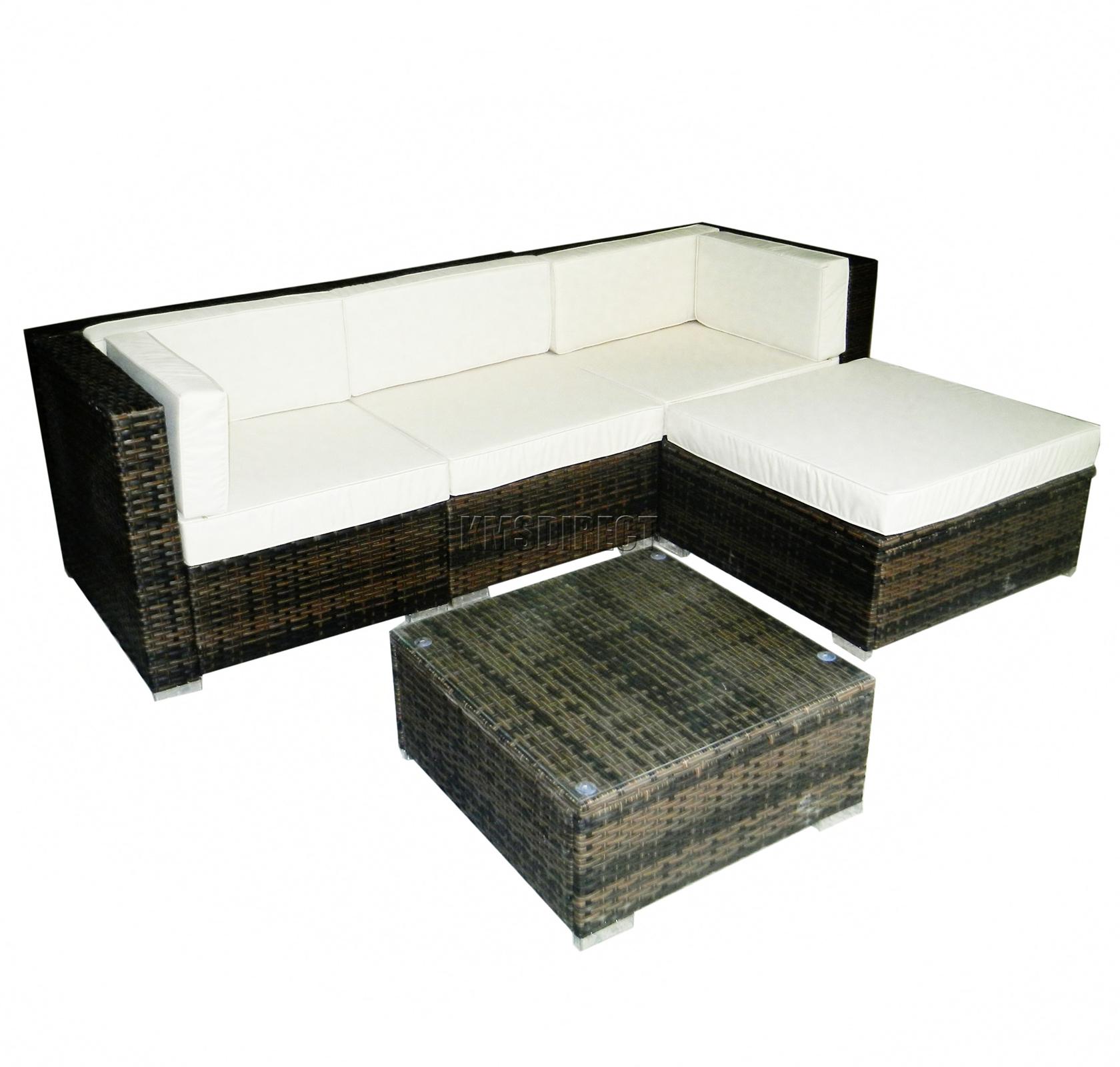 FoxHunter Rattan Furniture Set Table Garden Patio Outdoor Wicker Cube 11 Brow