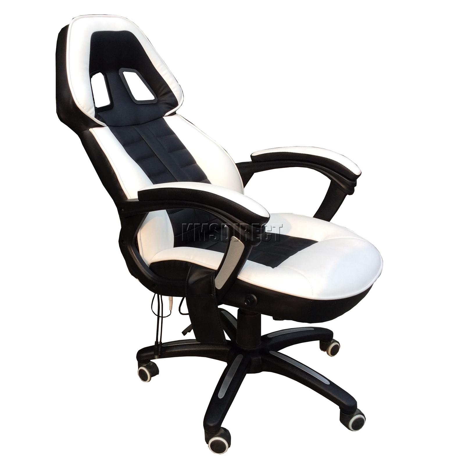 FoxHunter Luxury 6 Point Massage fice puter Chair High Back Black White New