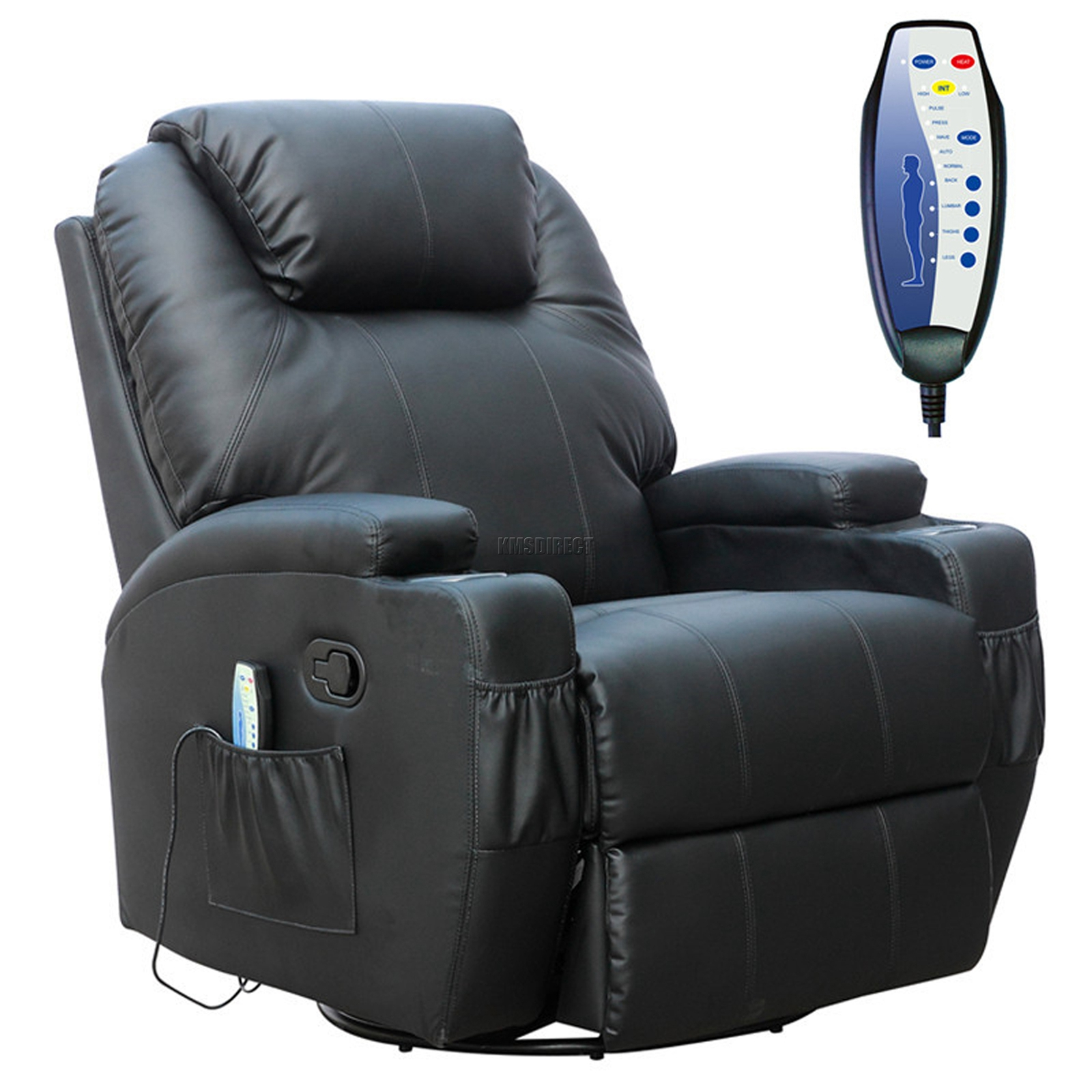 FoxHunter Black Bonded Leather Massage Cinema Recliner ...