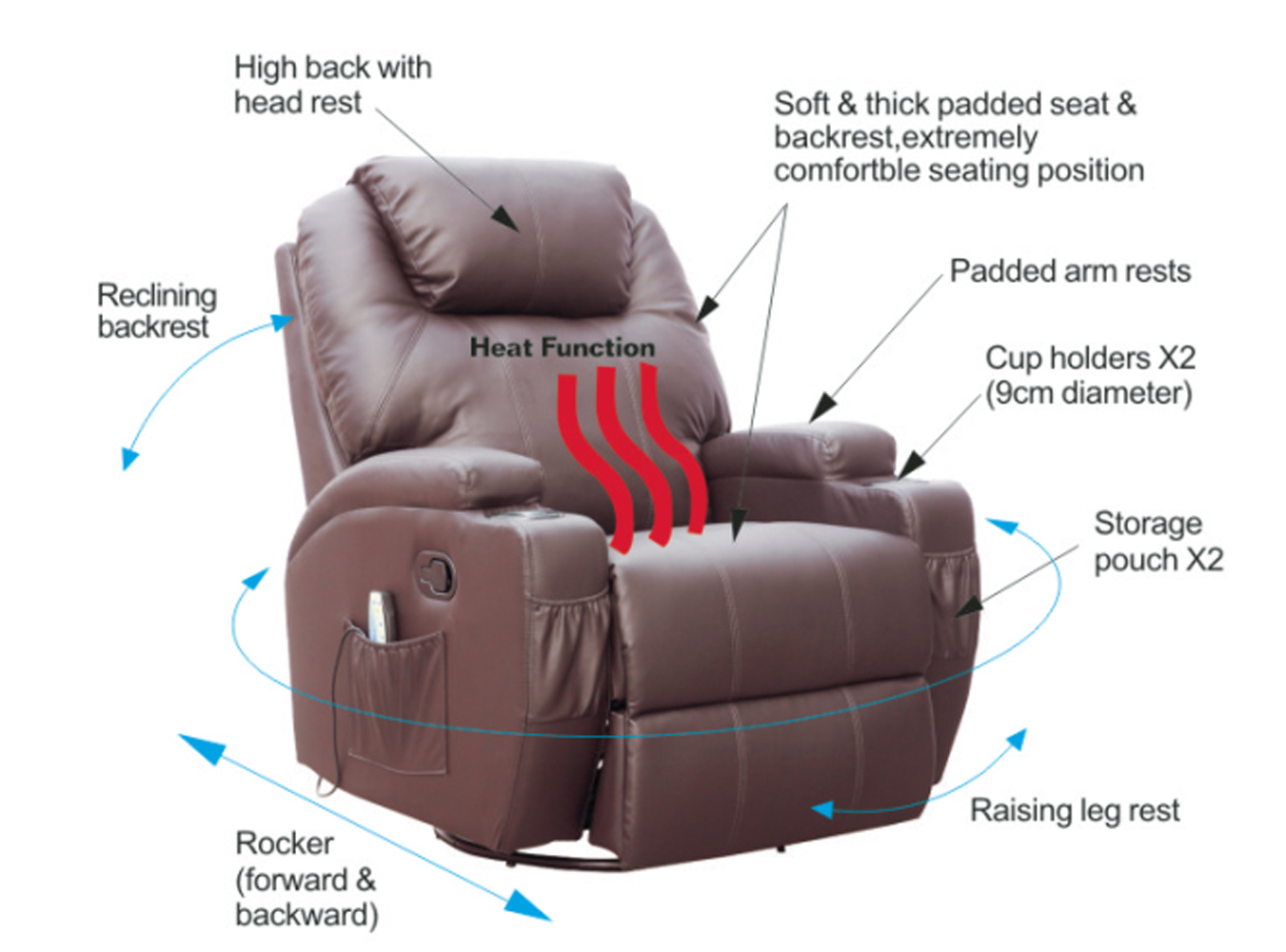 FoxHunter-Bonded-Leather-Sofa-Massage-Recliner-Chair-Swivel-  sc 1 st  eBay & FoxHunter Bonded Leather Sofa Massage Recliner Chair Swivel ... islam-shia.org