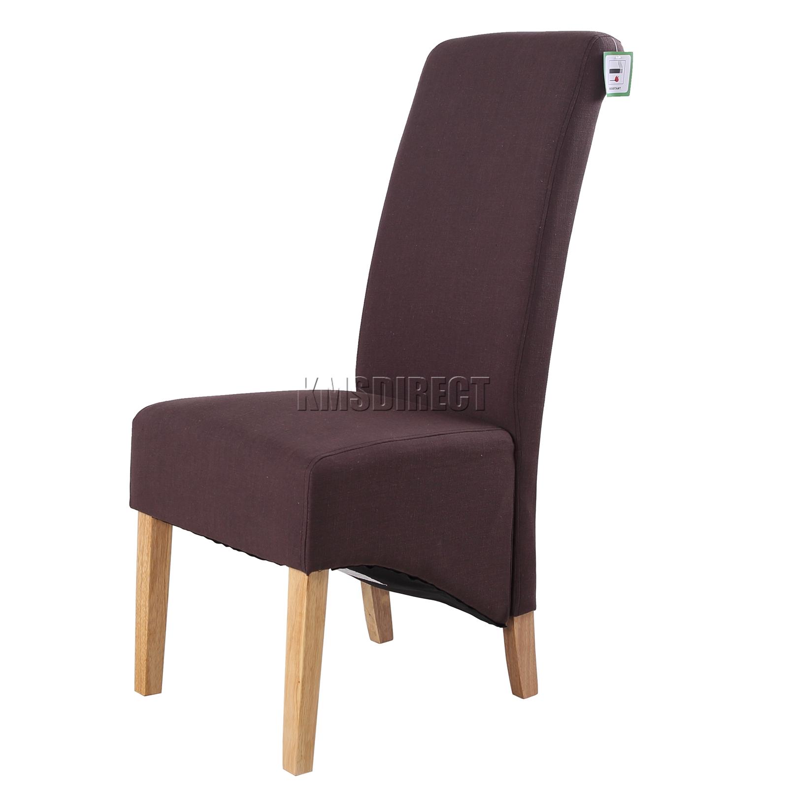 Foxhunter f01 marron chaise salle manger doublure tissu rouleau dossier haut ebay - Chaise haut dossier salle a manger ...