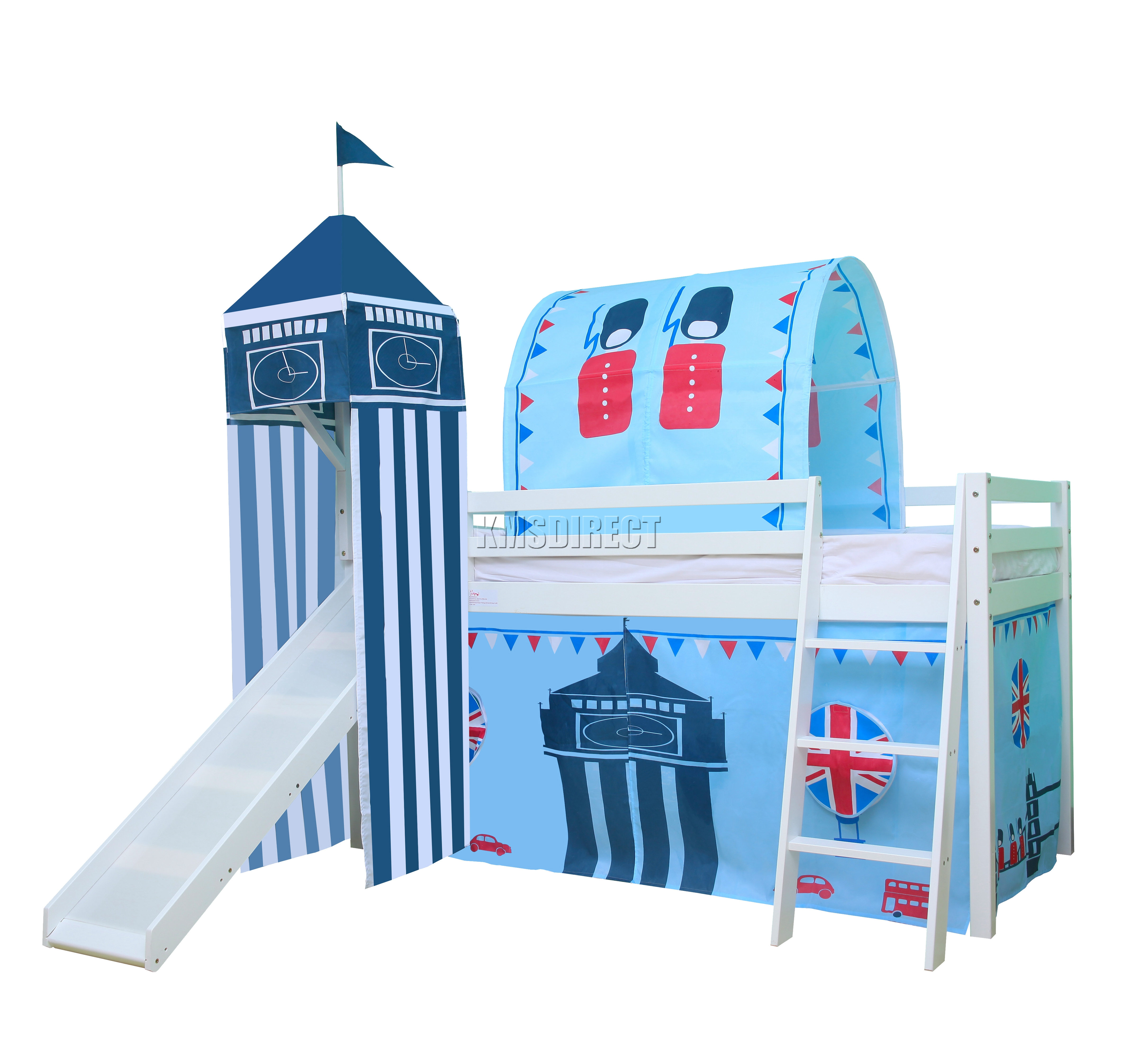 Bunk beds with slide and tent - Sentinel Foxhunter Children Wooden Mid Sleeper Cabin Bunk Bed Tent Single 3ft Castle Towe