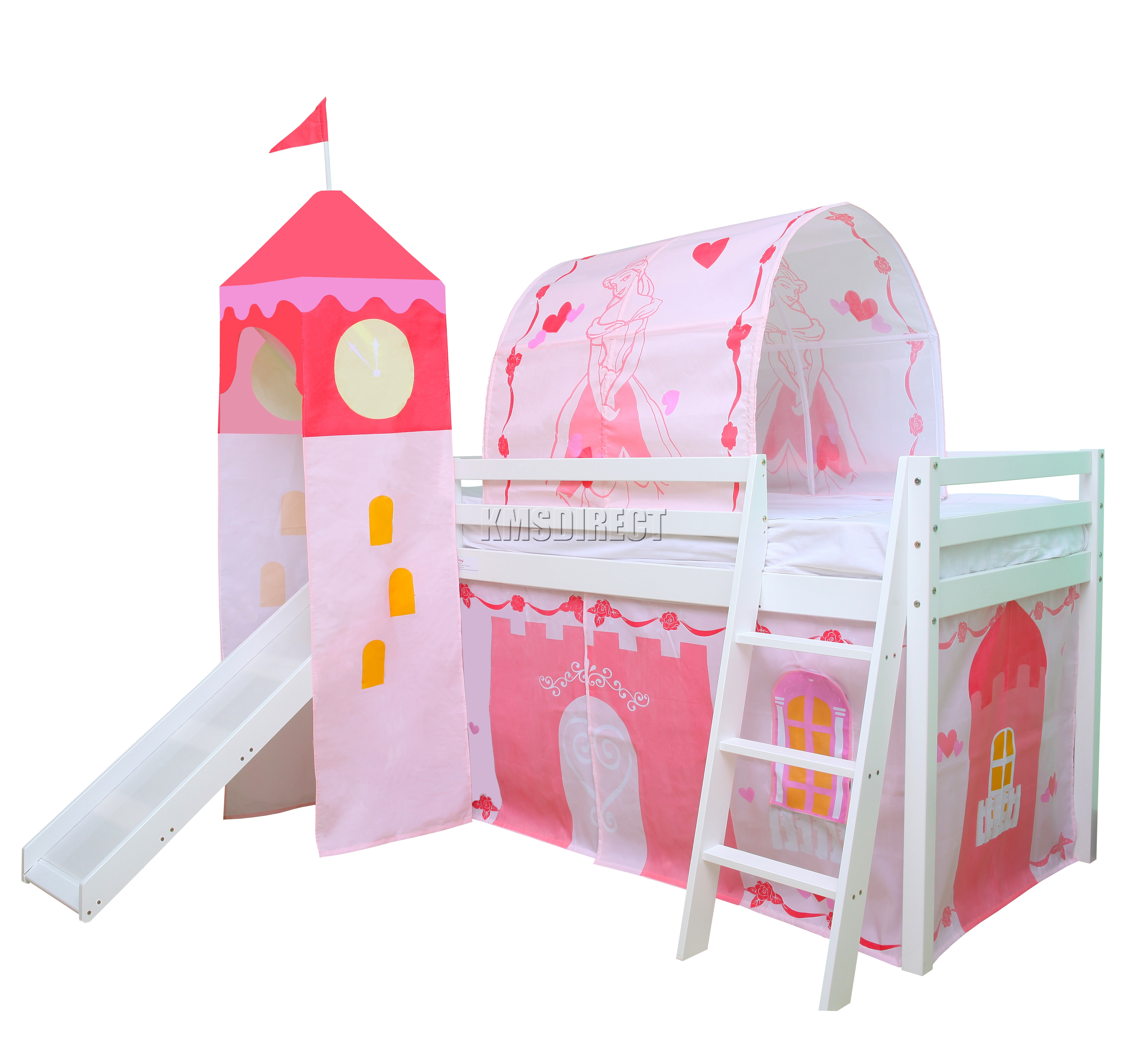 Foxhunter Children Wooden Mid Sleeper Cabin Bunk Bed Tent