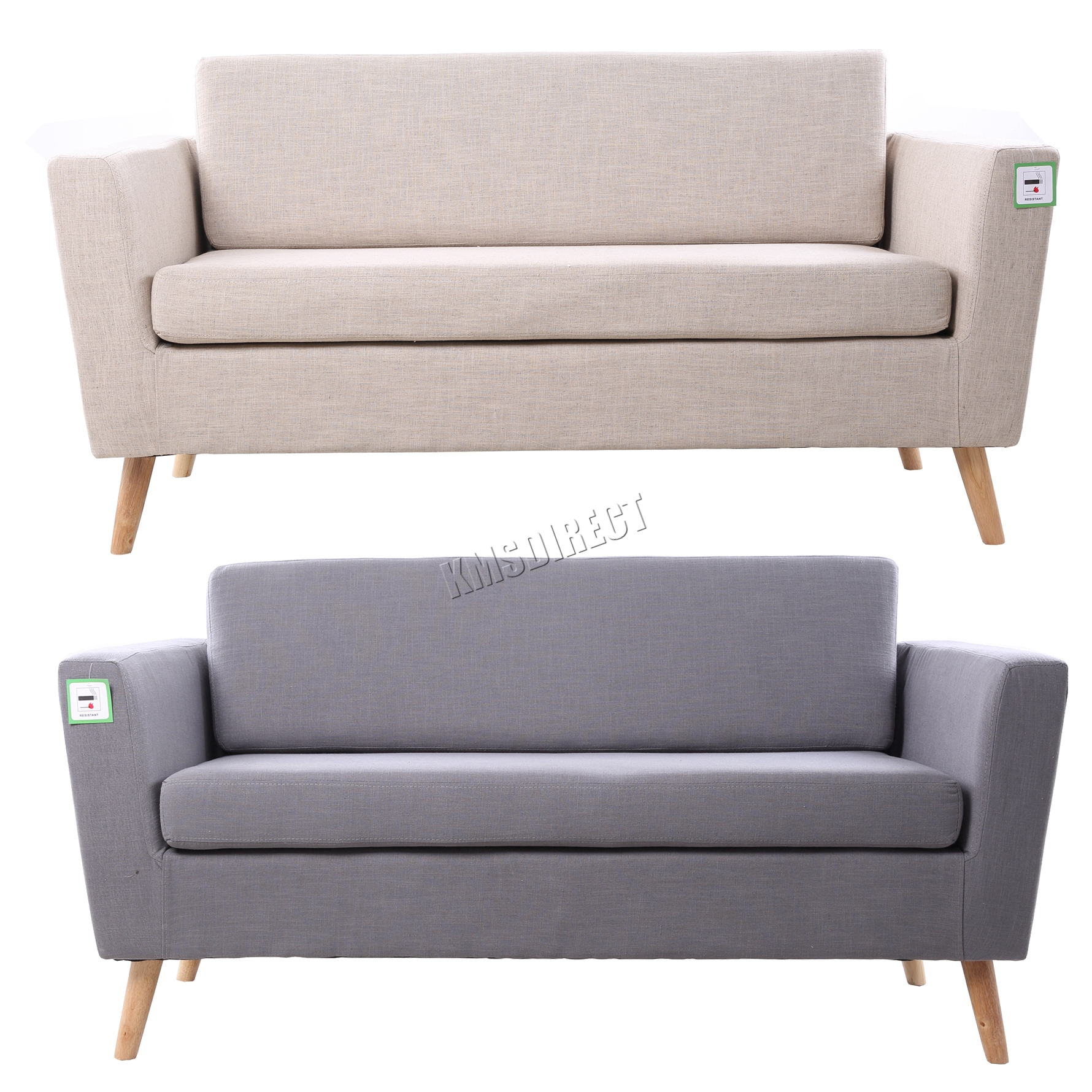 foxhunter linen fabric 2 seat sofa settee dining room