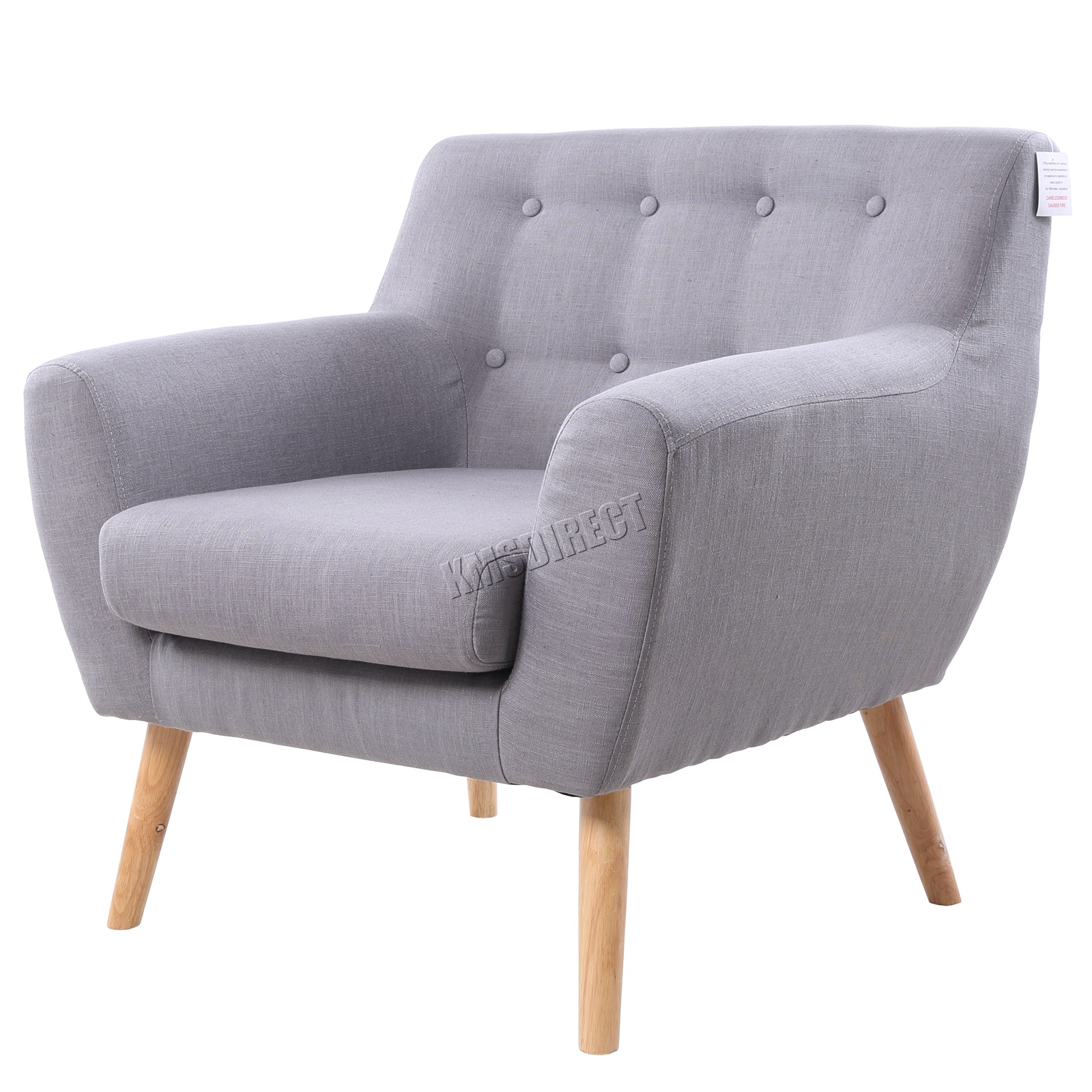 Foxhunter Linen Fabric 1 Single Seat Sofa Tub Arm Chair