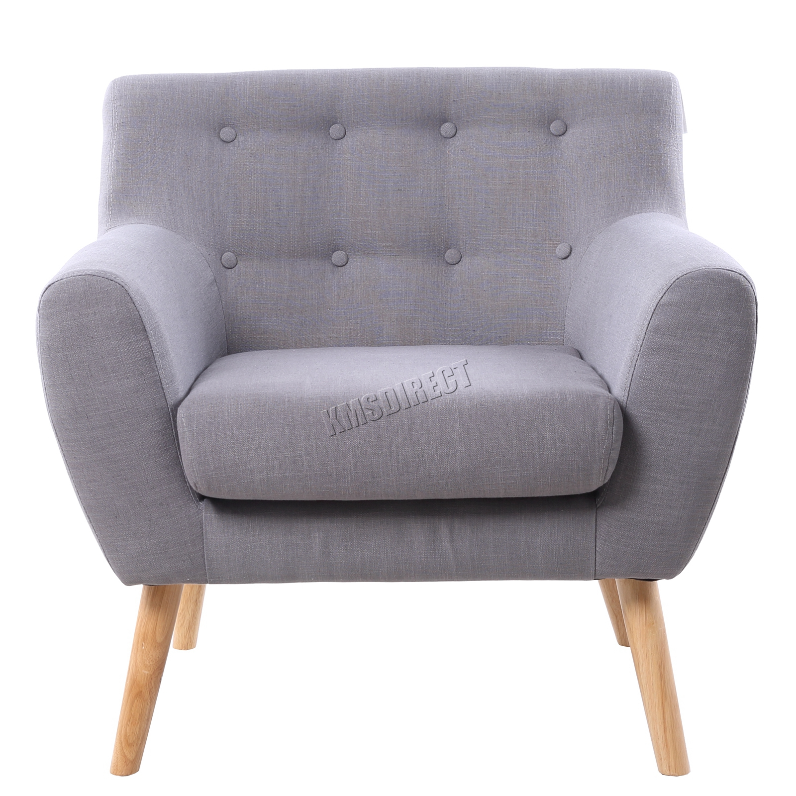 FoxHunter Linen Fabric 1 Single Seat Sofa Tub Arm Chair
