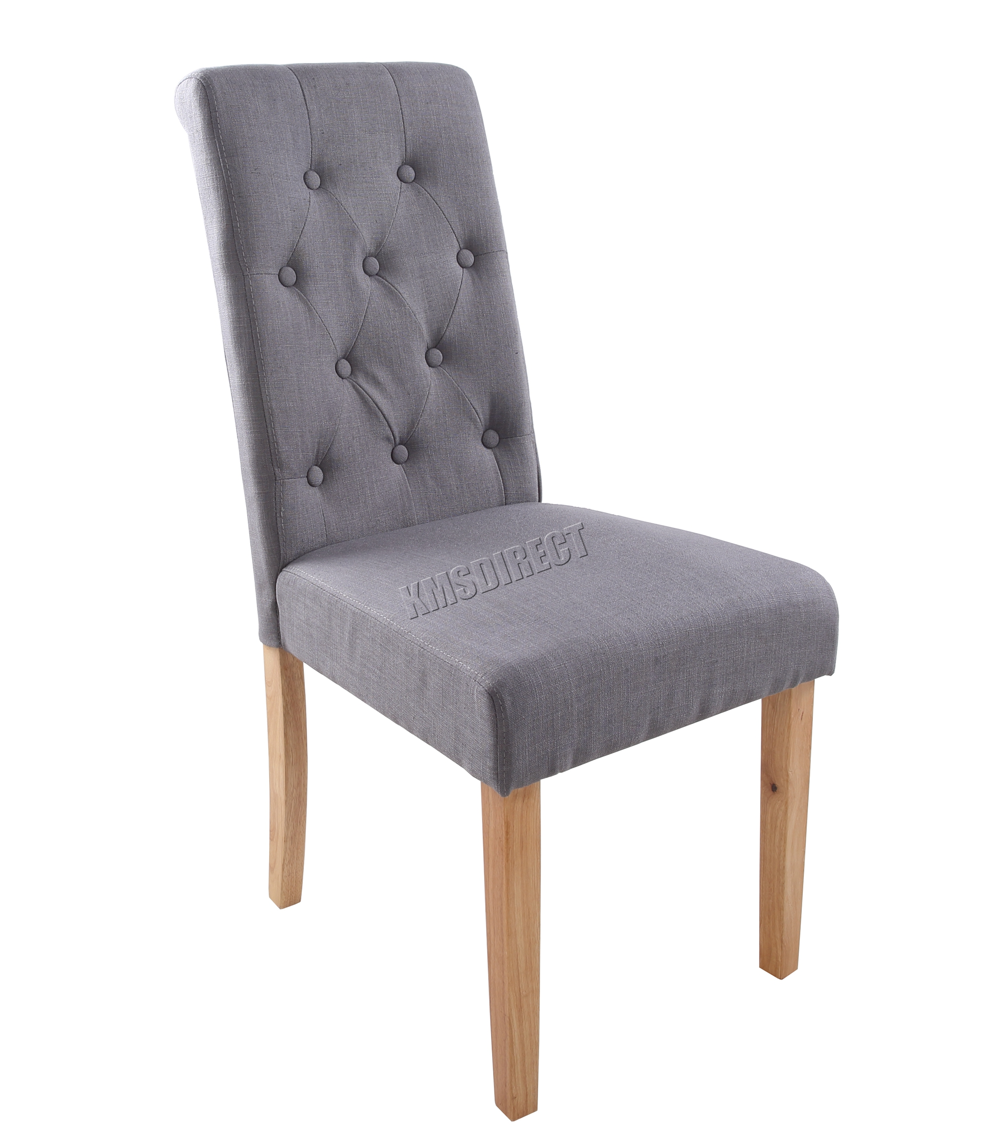 foxhunter grey linen fabric dining chairs scroll high back office room