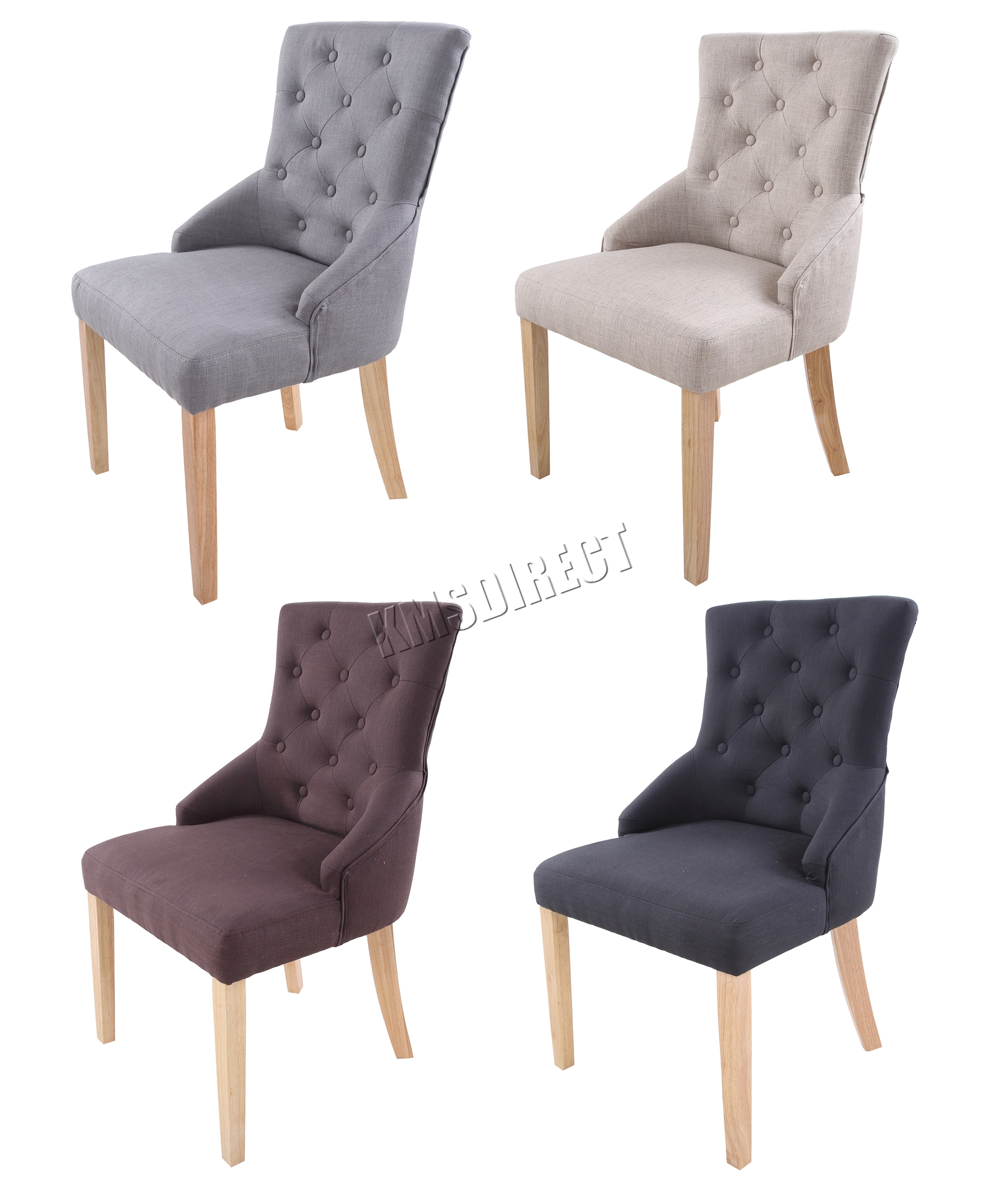 FoxHunter New Linen Fabric Dining Chairs Scoop Button Back