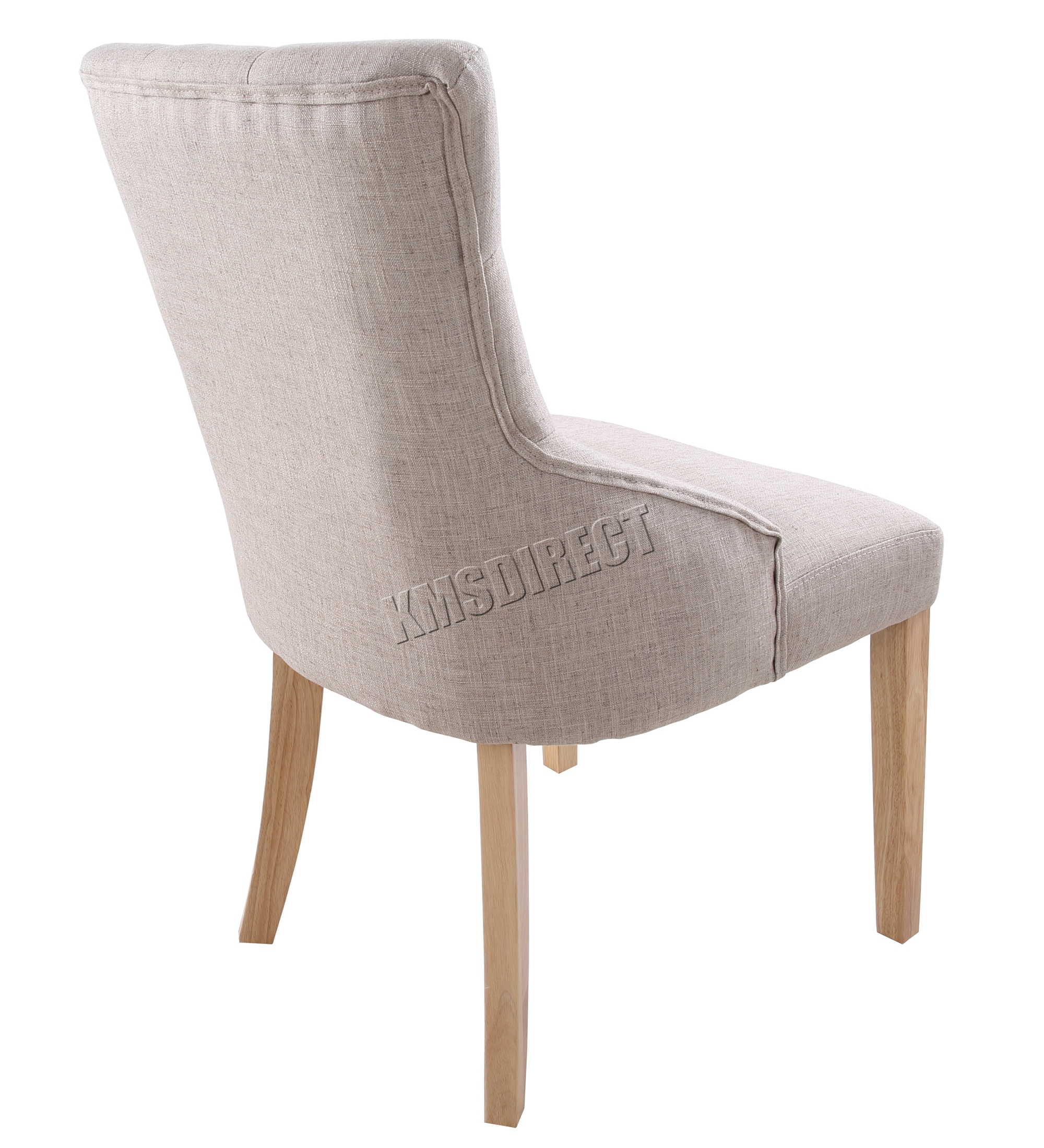 FoxHunter New Linen Fabric Dining Chairs Scoop Tufted Back