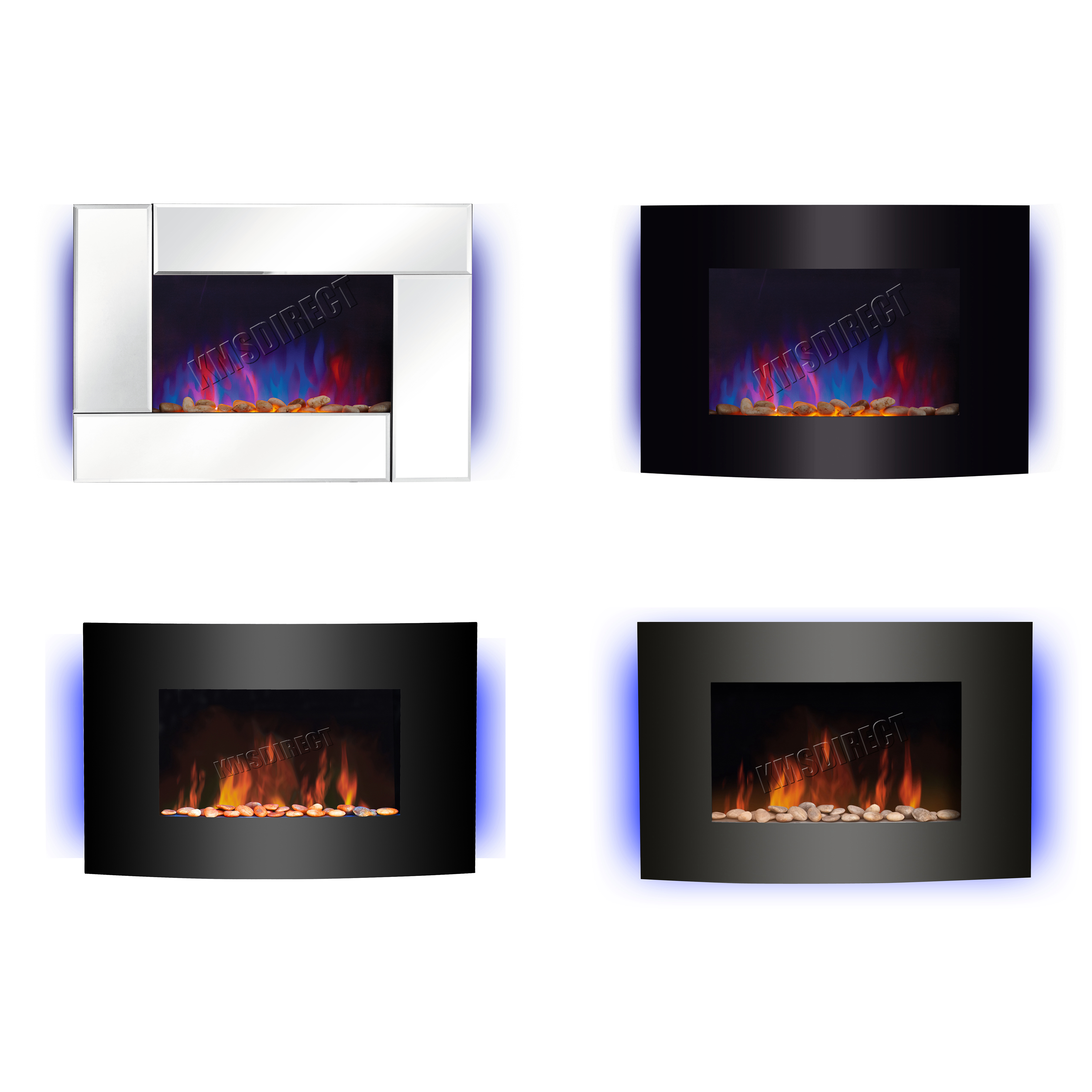 Wall Mounted Electric Fireplace Glass Heater Fire Remote Control Led Backlit New Ebay