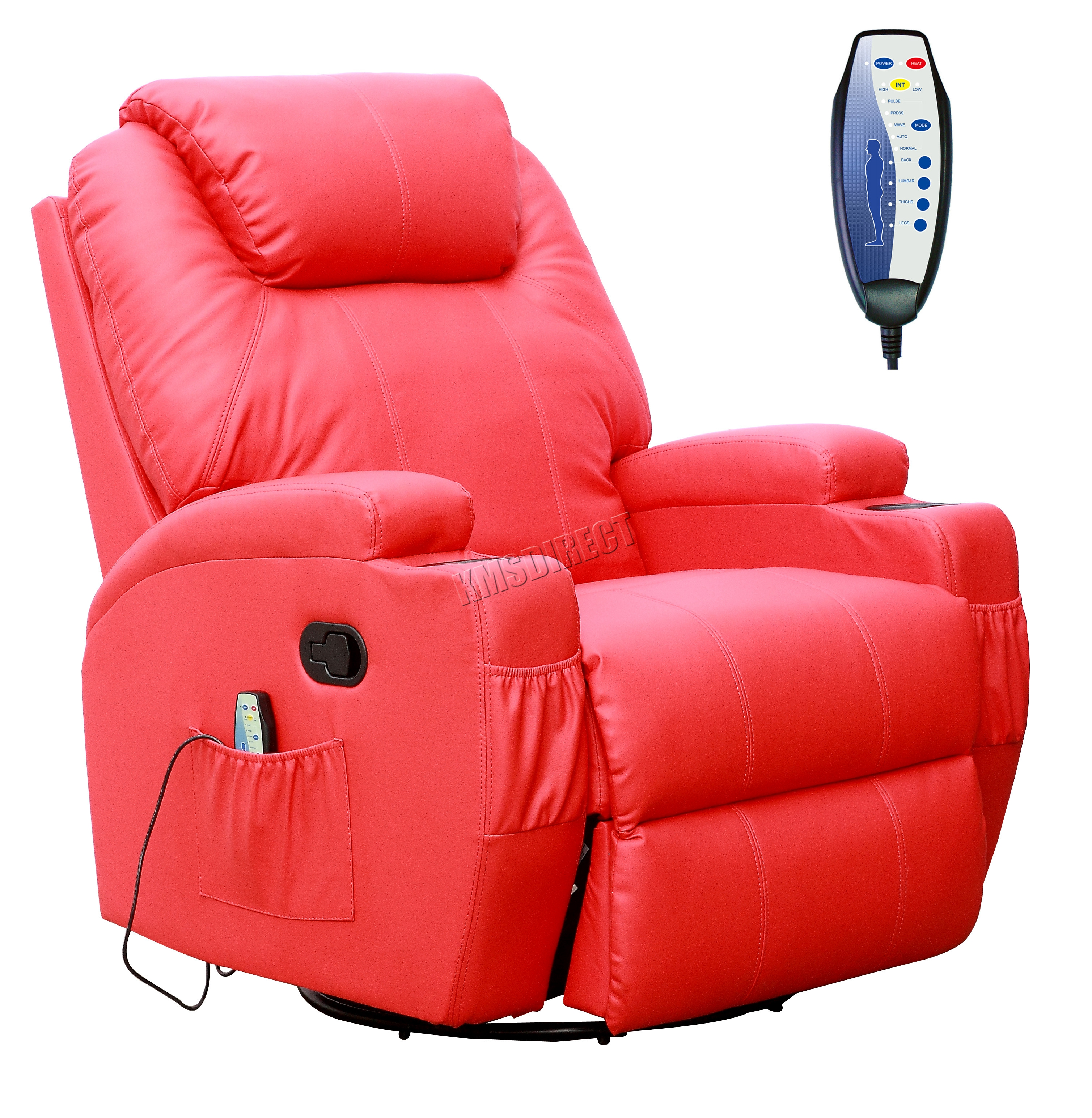 FoxHunter Bonded Leather Massage Recliner Chair Cinema Sofa Armchair Swivel H