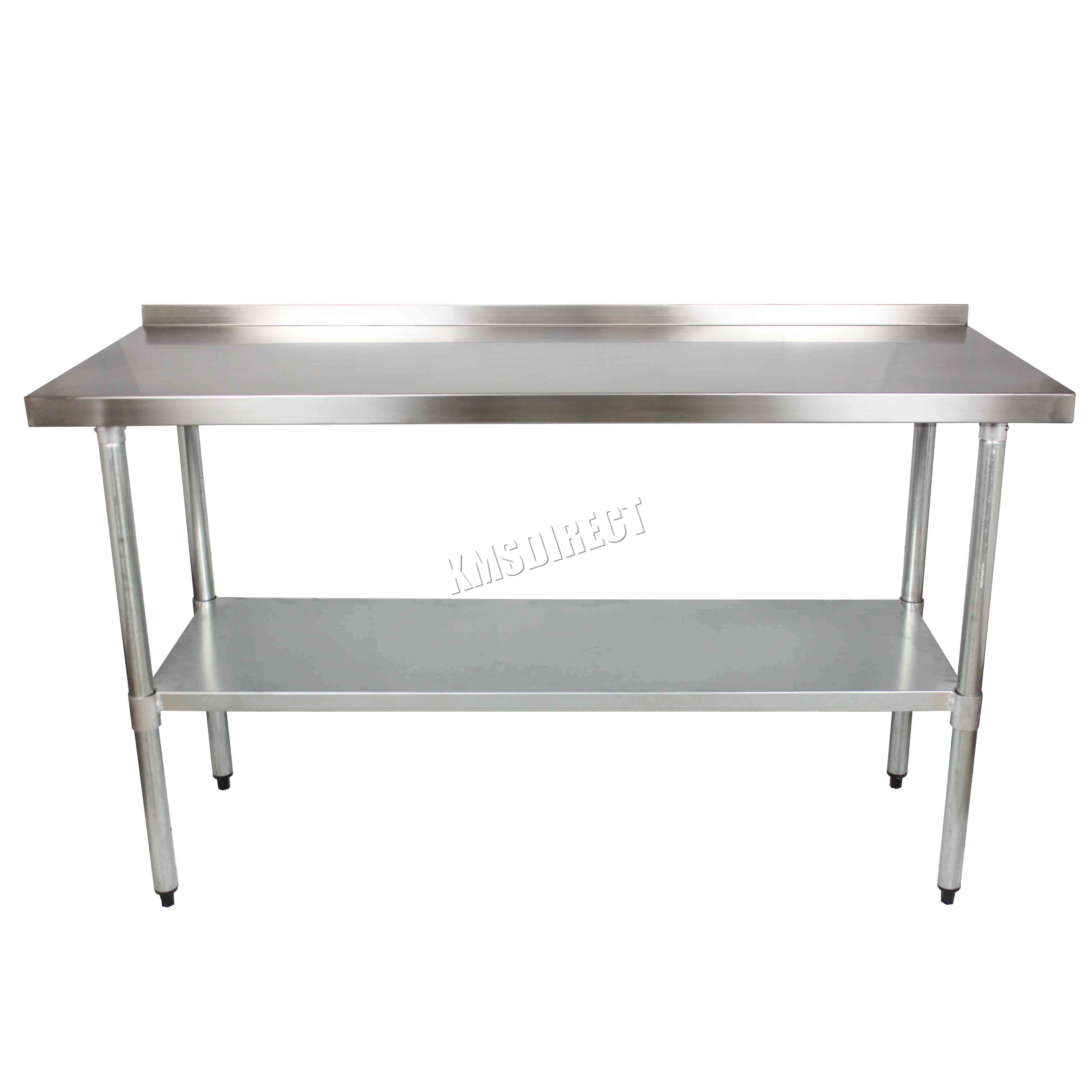 FoxHunter Stainless Steel Catering Table Backsplash Work Bench